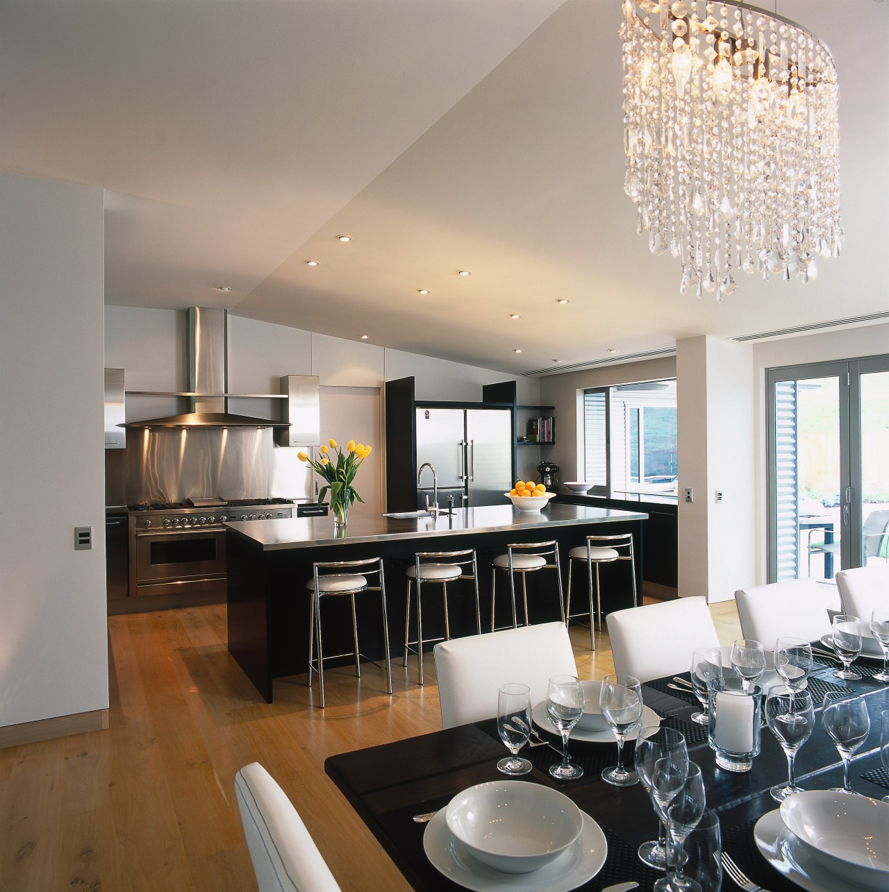 view of the open plan kitchen and dining ceiling, countertop, dining room, interior design, kitchen, real estate, gray