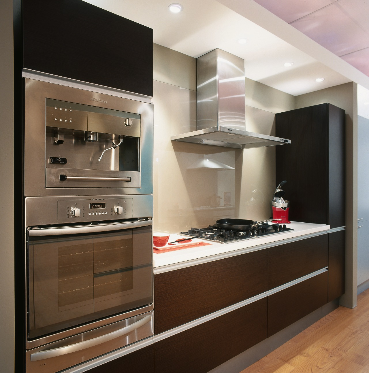 An example of the displays within Harvey Norman cabinetry, countertop, cuisine classique, furniture, home appliance, interior design, kitchen, kitchen appliance, brown, gray