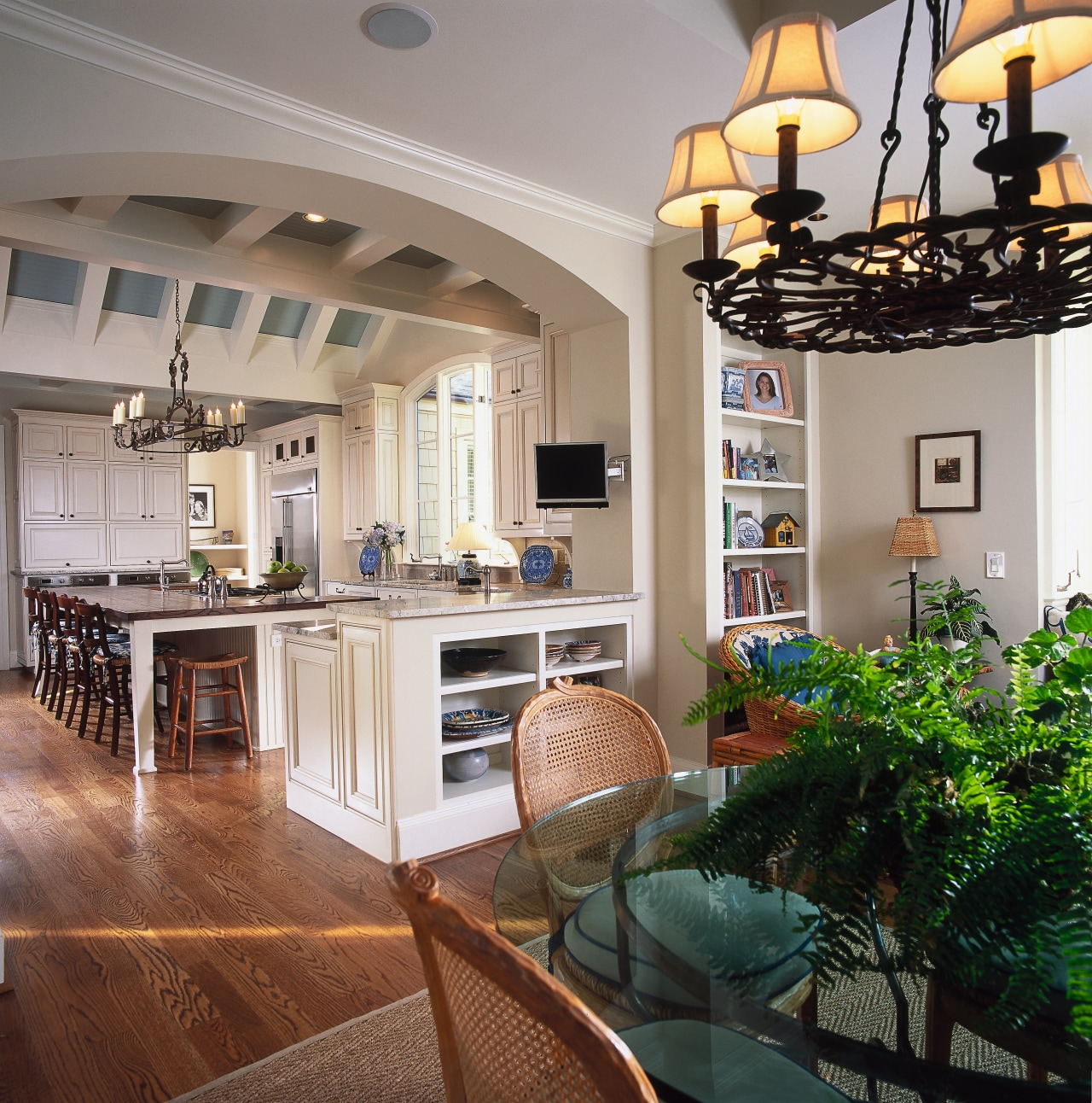 A view of the kitchen. ceiling, countertop, dining room, home, interior design, kitchen, living room, real estate, room, gray