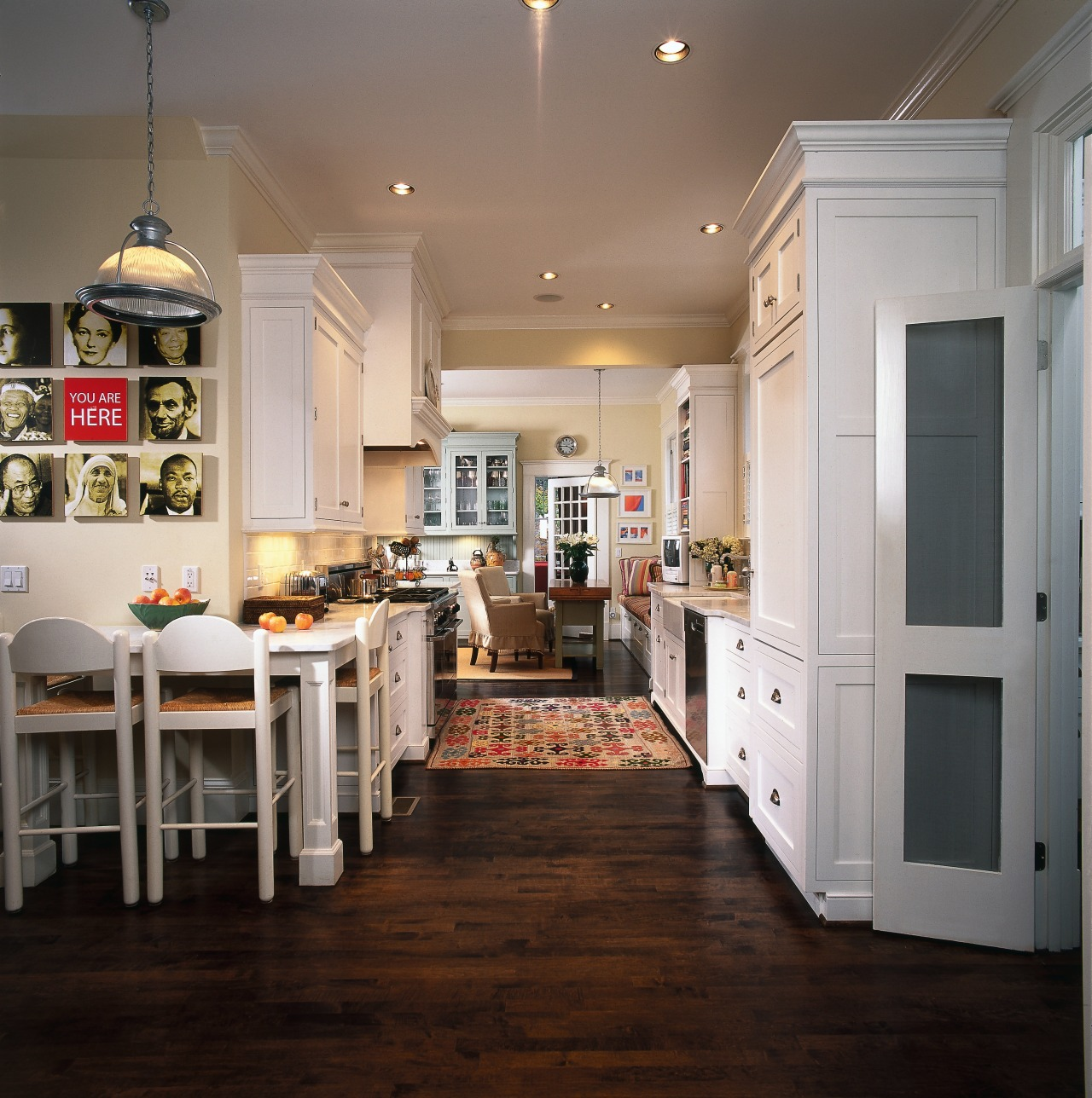 A view of the kitchen area, wooden flooring cabinetry, ceiling, countertop, cuisine classique, dining room, floor, flooring, hardwood, home, interior design, kitchen, room, wood, wood flooring, gray, black
