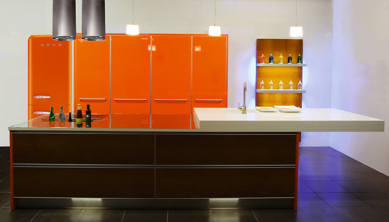 An example of a retro style kitchen designed bathroom, cabinetry, countertop, floor, flooring, furniture, interior design, kitchen, orange, product design, room, shelf, sink, table, black