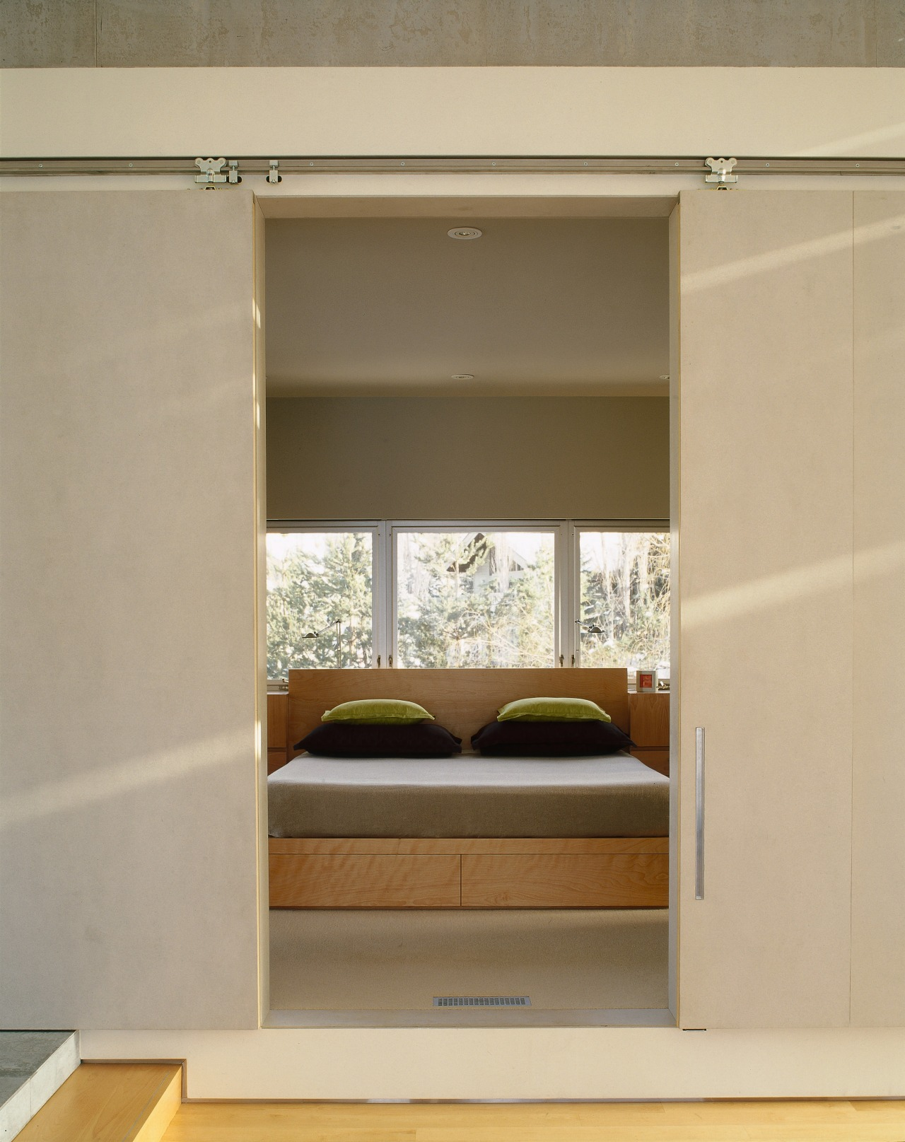 A view of the master suite. furniture, interior design, wardrobe, orange, brown