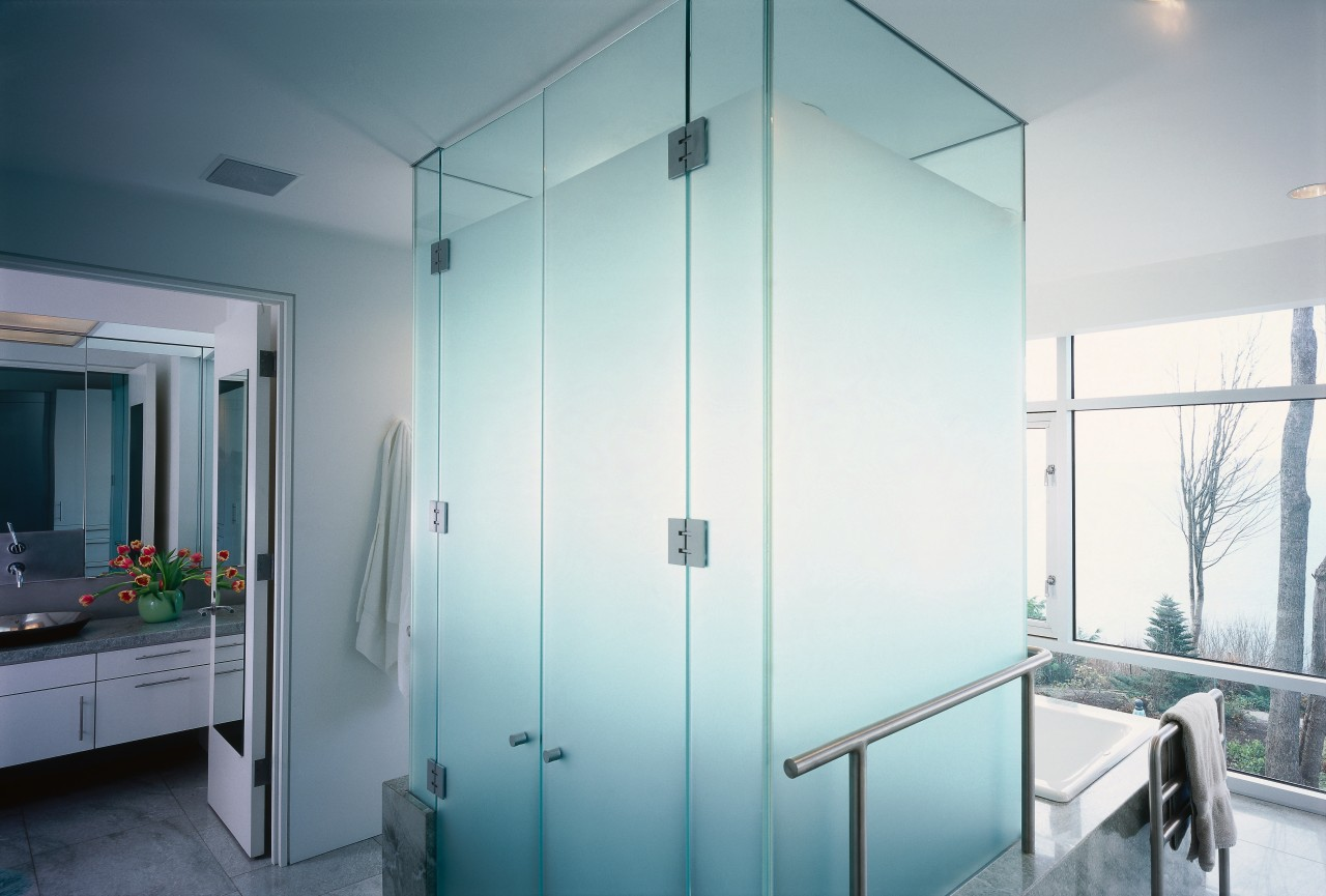 view of this bathroom featuring a large shower bathroom, door, glass, interior design, room, wall, white