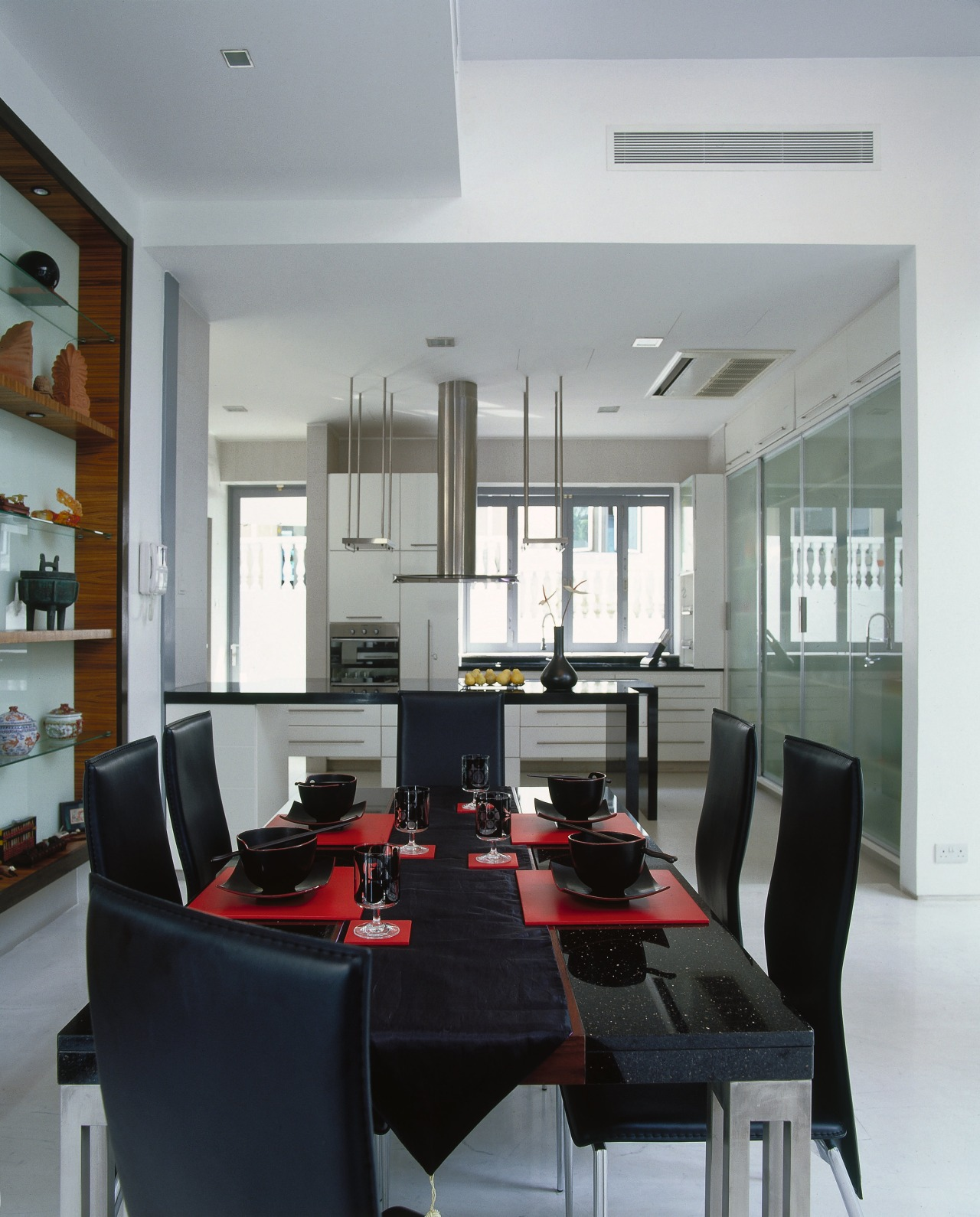 A view of the kitchen from the dining ceiling, dining room, furniture, interior design, living room, room, table, gray, black