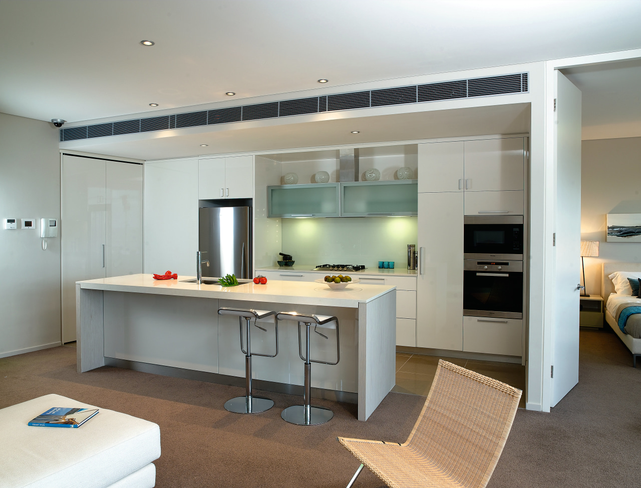 A view of a kitchen with some Miele cabinetry, countertop, cuisine classique, interior design, kitchen, gray