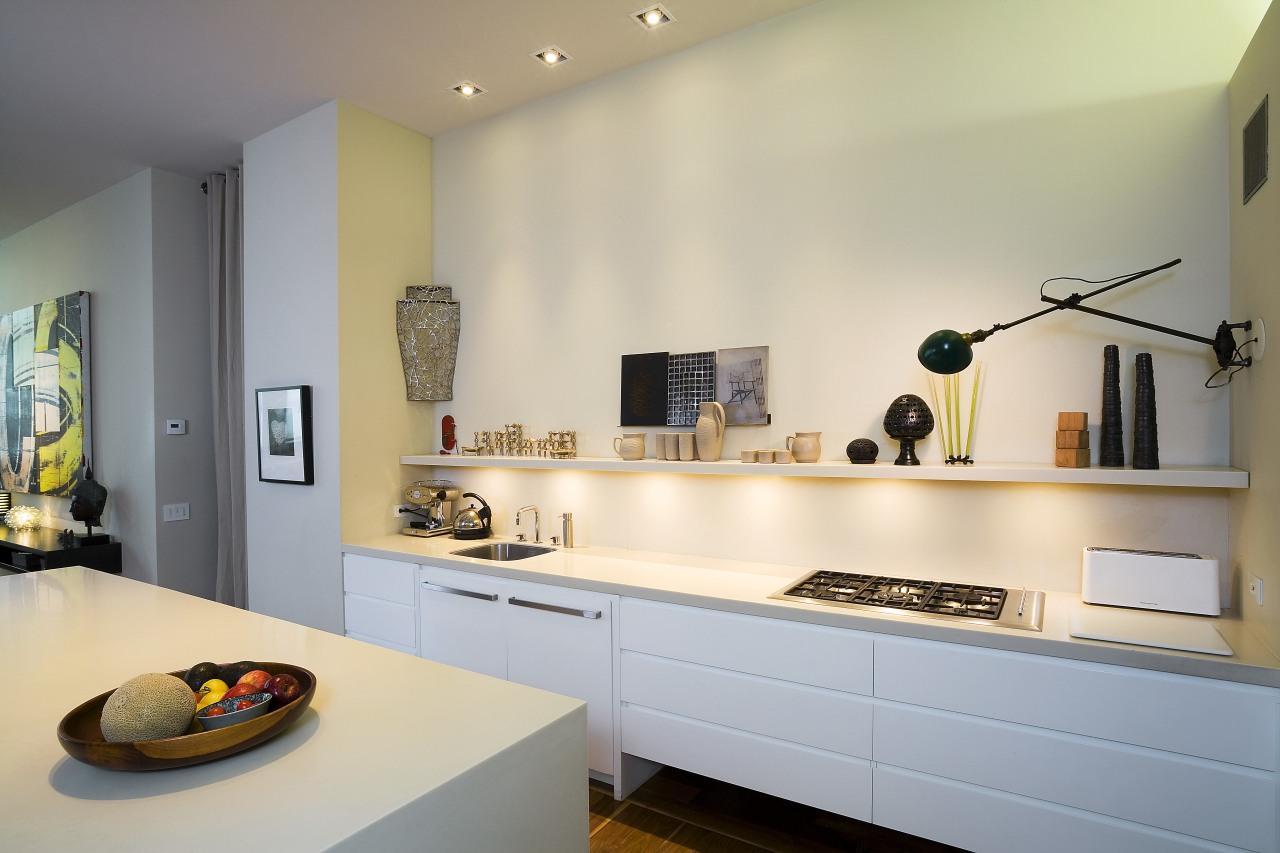 A view of the kitchen, tiled floor, white countertop, interior design, kitchen, room, orange, gray