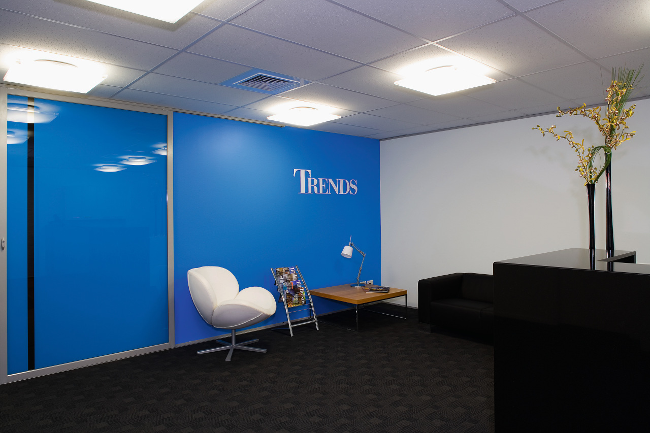 A view of the Trends Building. blue, ceiling, conference hall, interior design, office, gray, black