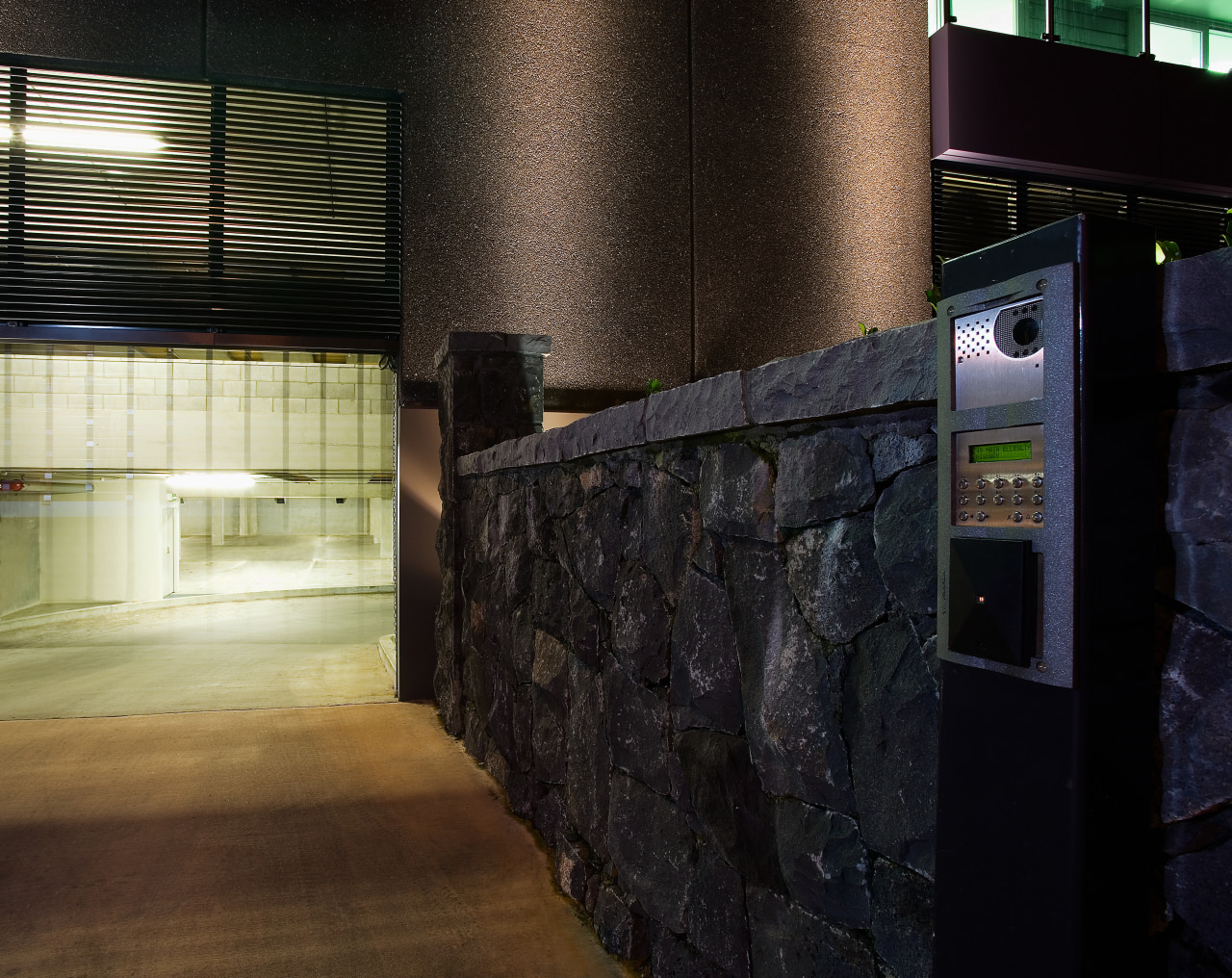 A view of the security system from Integrated wall, black