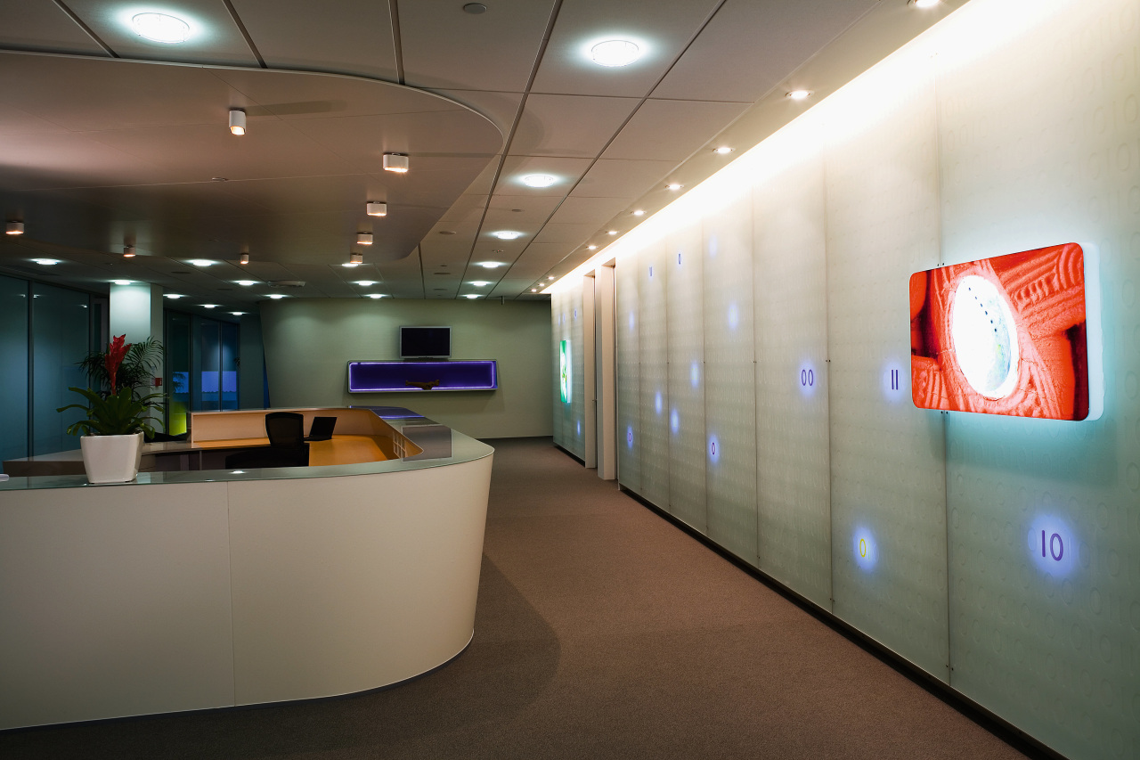 A view of the Microsoft headquarters. ceiling, interior design, office, product design, gray, brown