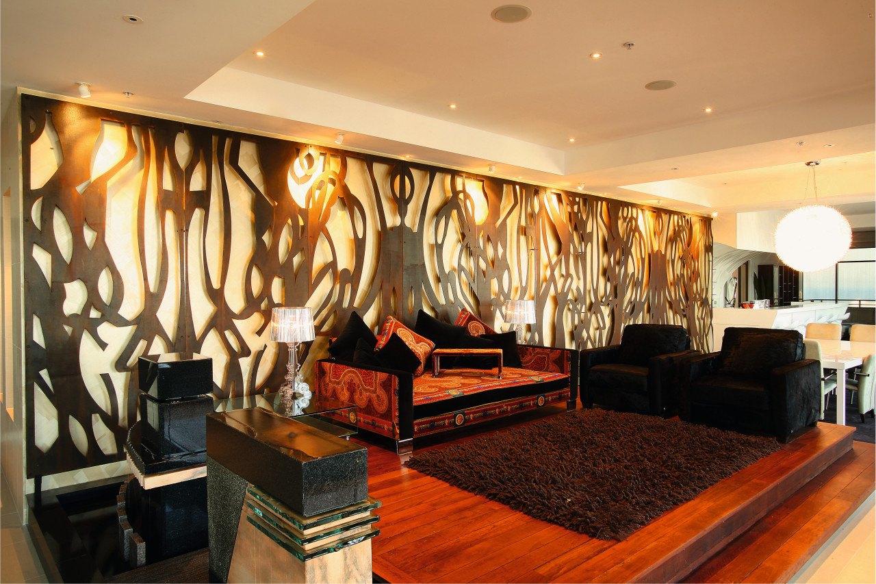 Raised formal lounge area in apartment, timber flooring, ceiling, interior design, living room, lobby, room, wall, orange