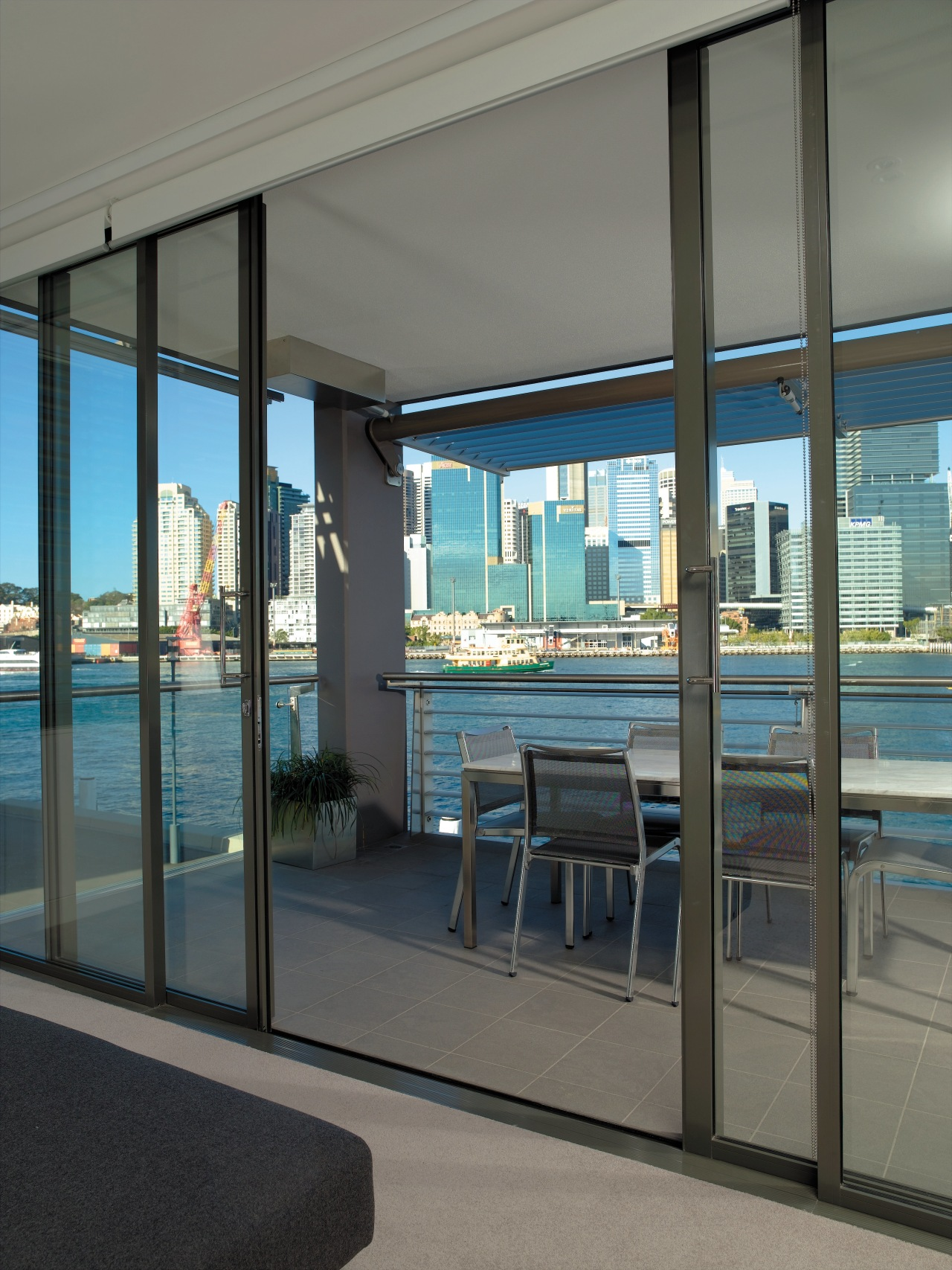 view of the interiorof this saunders wharf apartment architecture, door, glass, interior design, real estate, shade, window, gray, black