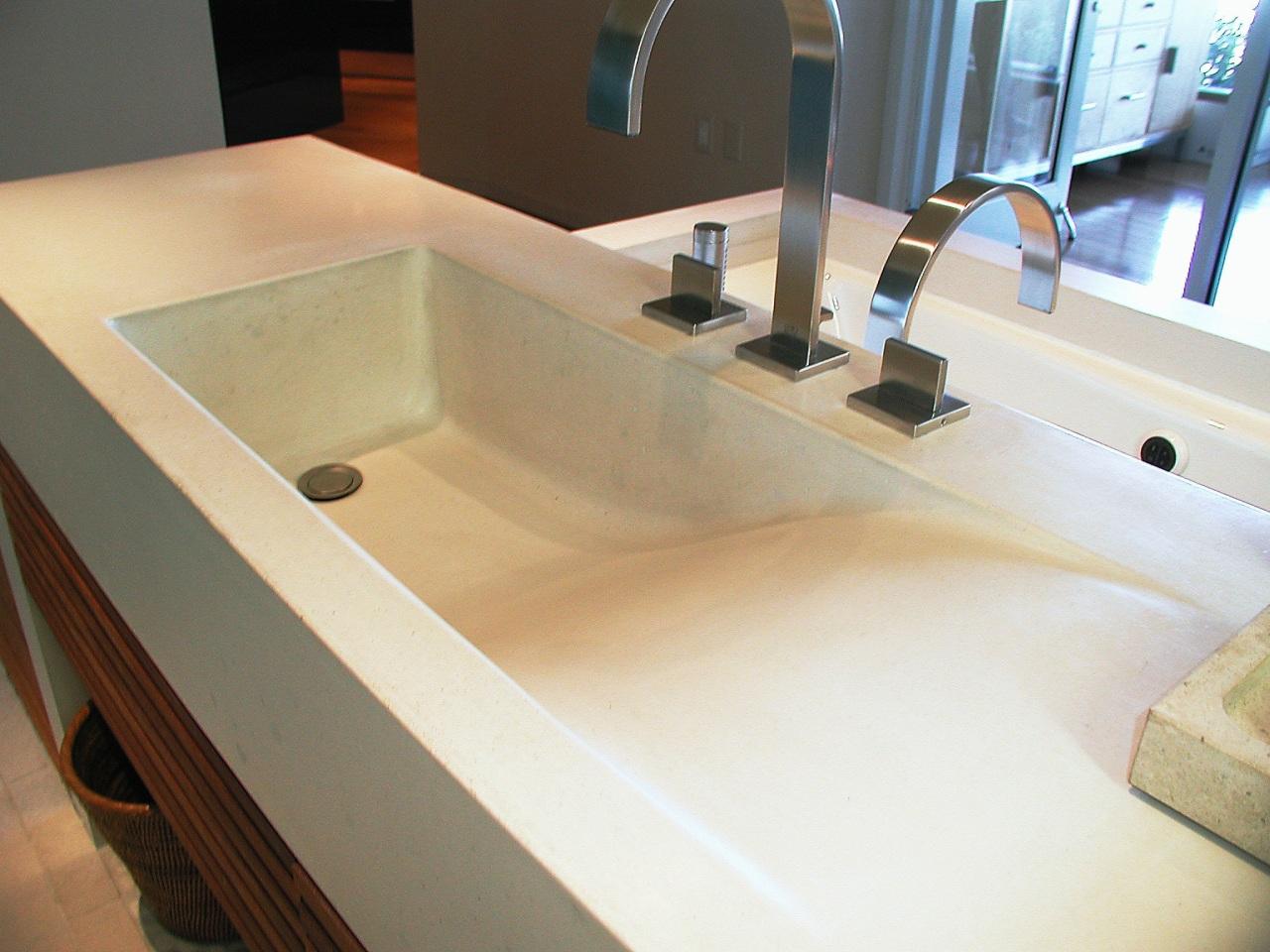 view of this contemporary concrete sink from Dex bathroom, bathroom sink, countertop, floor, plumbing fixture, product design, sink, tap, white