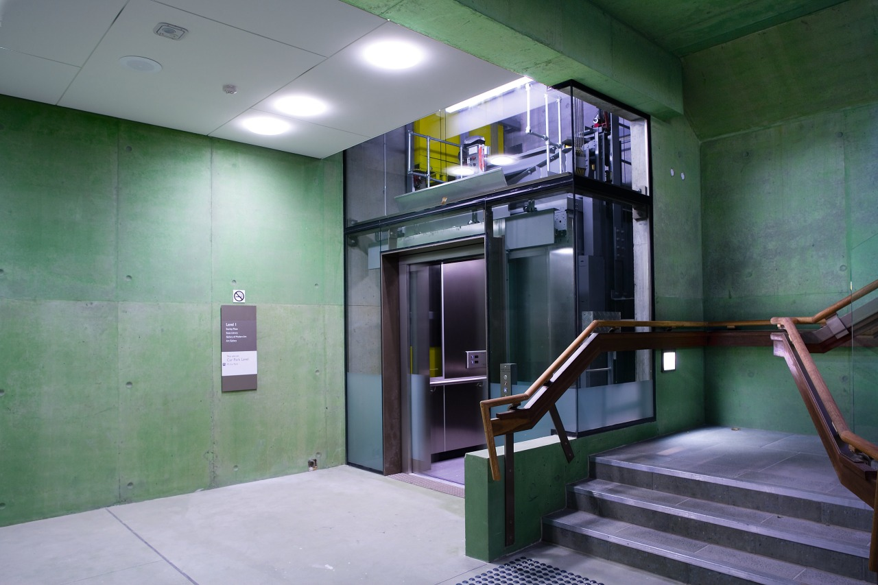 A view of a lift from Liftronic. architecture, gray, green