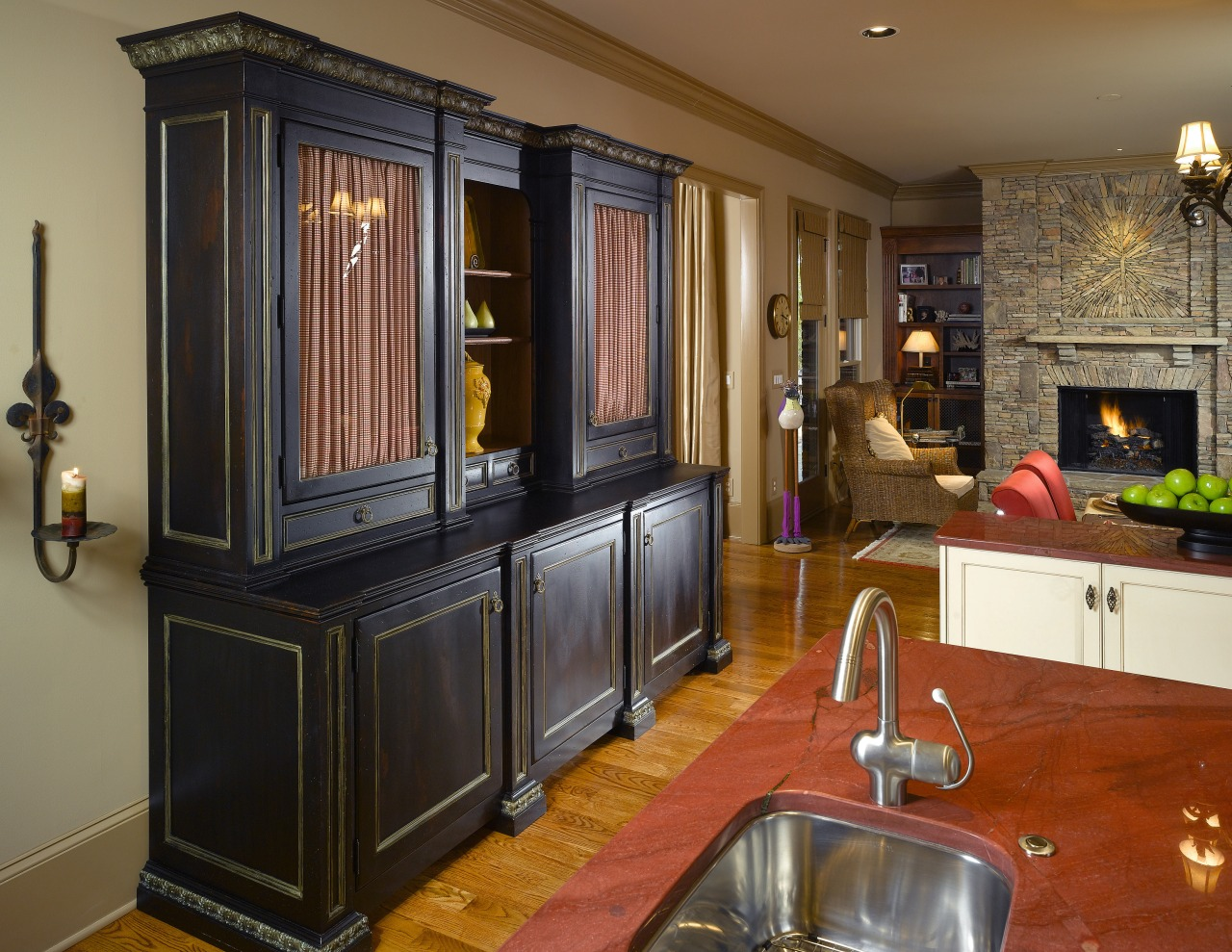 A view of this kitchen designed by Mcfarlane cabinetry, countertop, flooring, furniture, interior design, kitchen, living room, room, brown, black