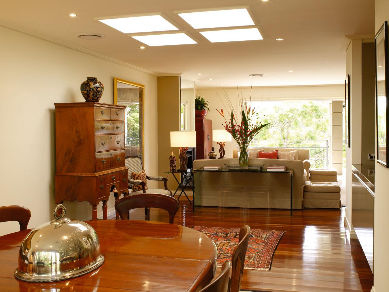 Diners can look out across the living area ceiling, dining room, floor, flooring, hardwood, home, interior design, living room, real estate, room, window, wood, wood flooring, brown, orange