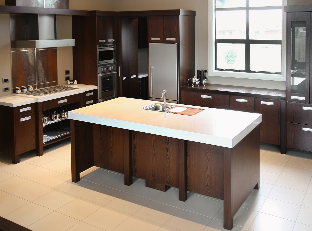 A view of this kitchen design by Euro cabinetry, countertop, cuisine classique, furniture, interior design, kitchen, room, table, brown