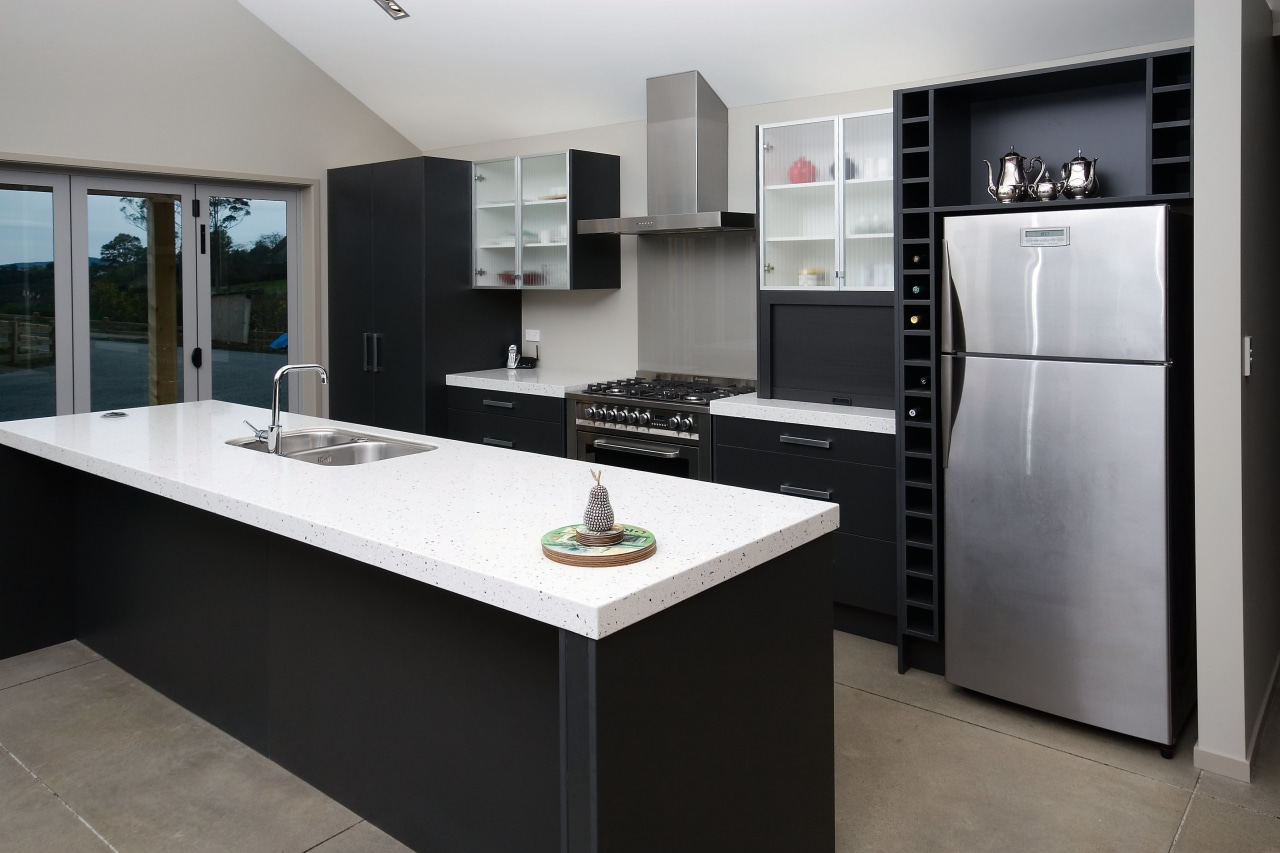 A view of this custom kitchen designed and cabinetry, countertop, cuisine classique, home appliance, interior design, kitchen, room, black, gray