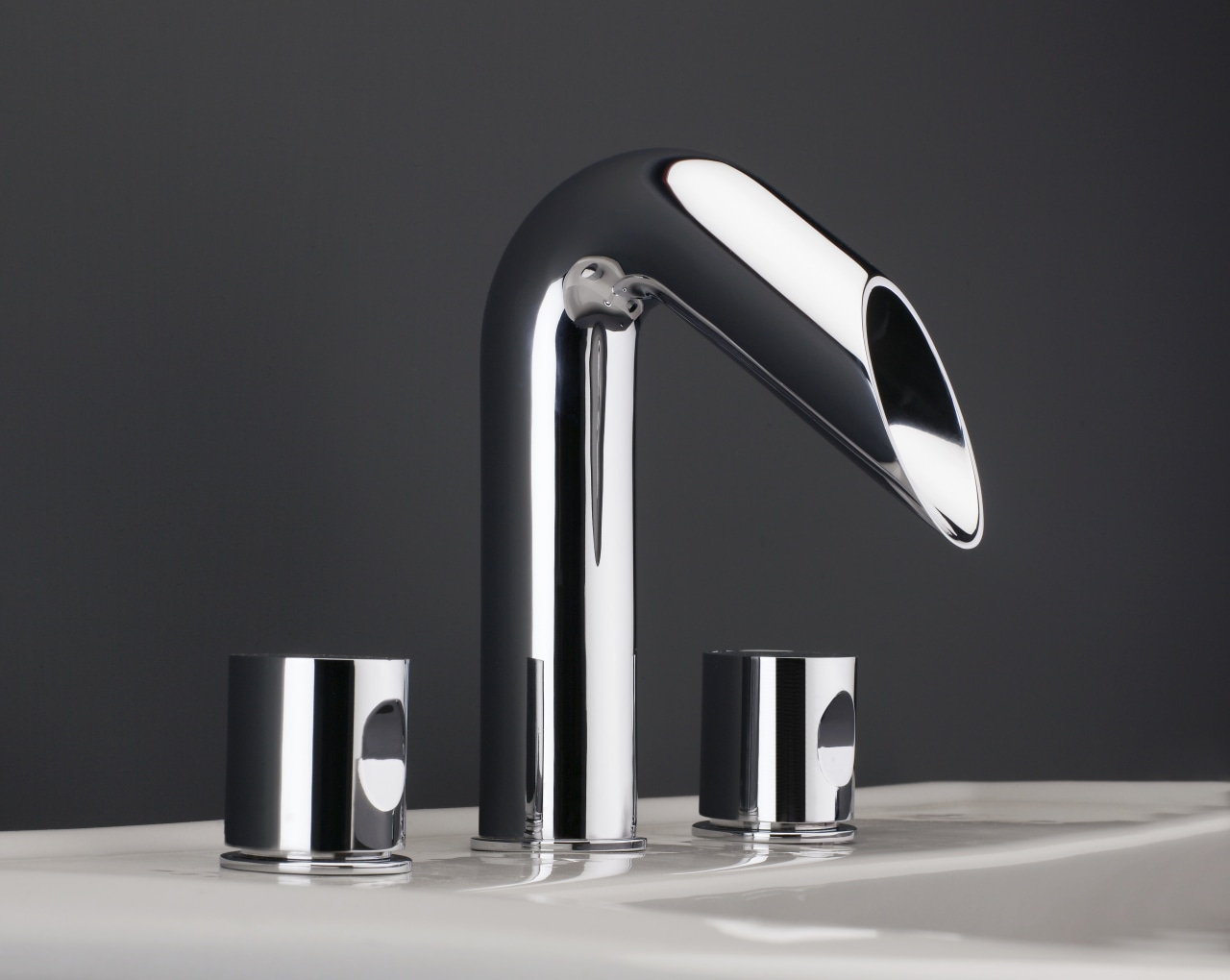 Sleek lines and highly polished chrome finish characterise light fixture, lighting, plumbing fixture, product, product design, tap, black