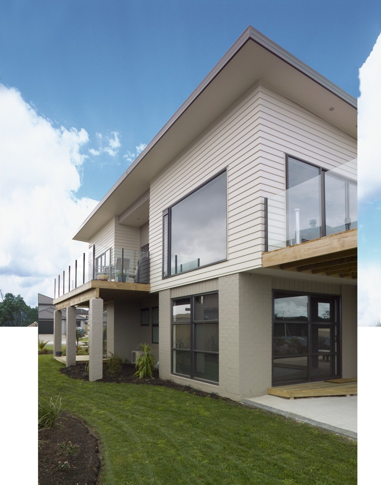 A view of some cladding from Dynex Extrusions. architecture, building, elevation, facade, home, house, property, real estate, residential area, siding, window, white