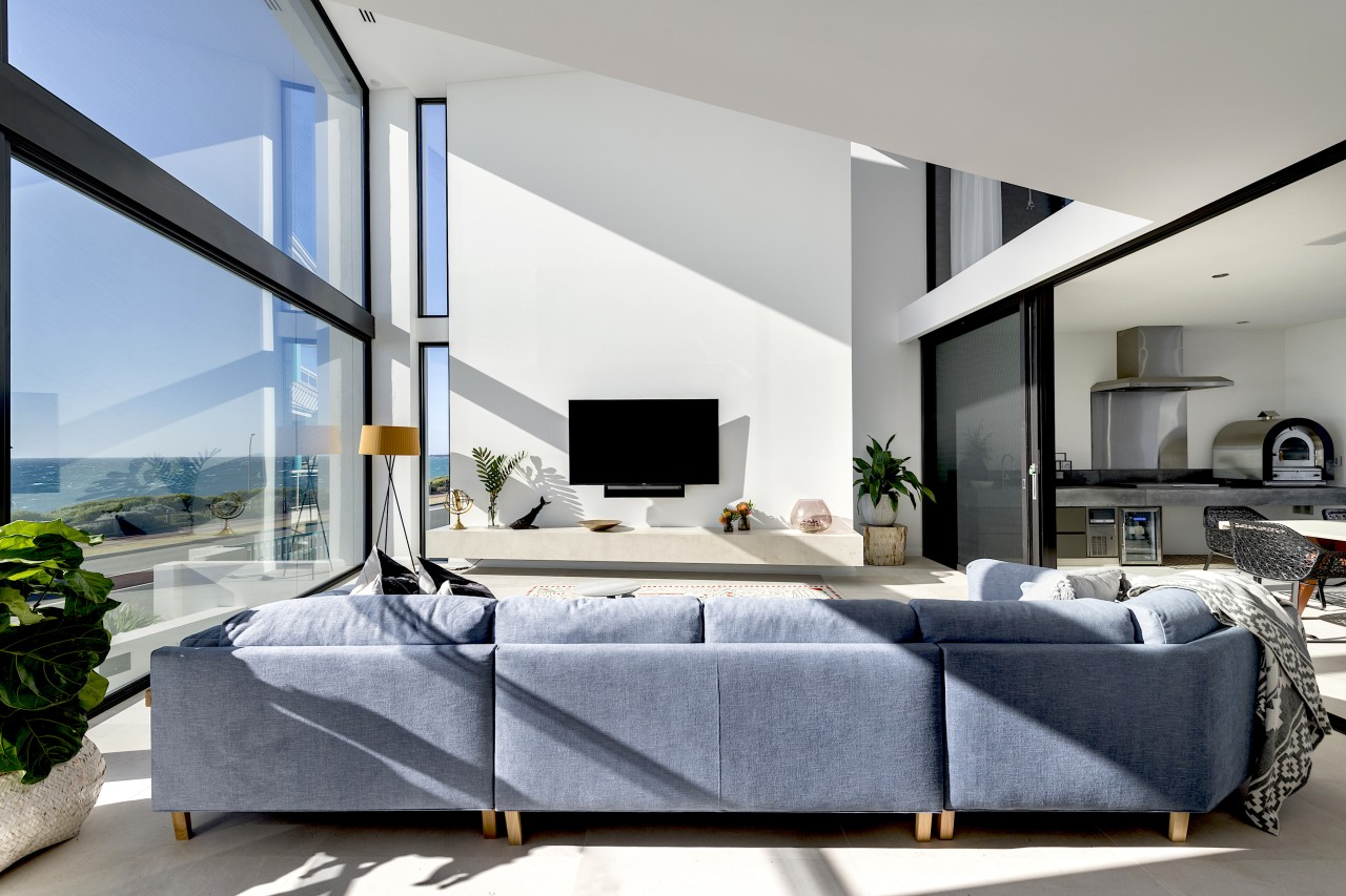 The large, double height family room opens to