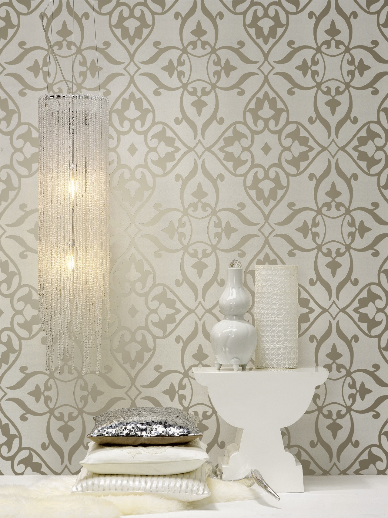 A view of some wallpaper from Vision Wallcoverings. interior design, wall, wallpaper, gray