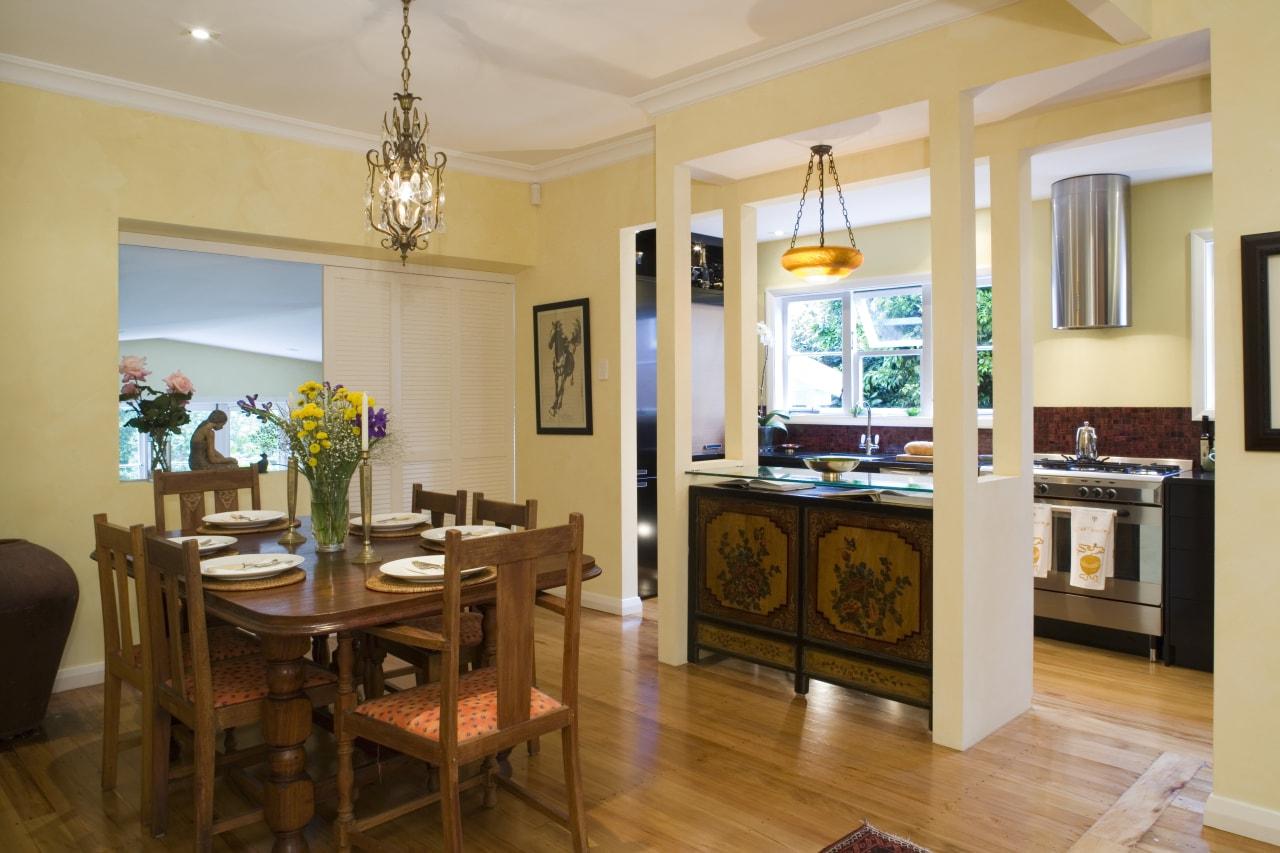 View of Kitchen designed by Celia Visser Design, dining room, interior design, kitchen, living room, real estate, room, orange, brown