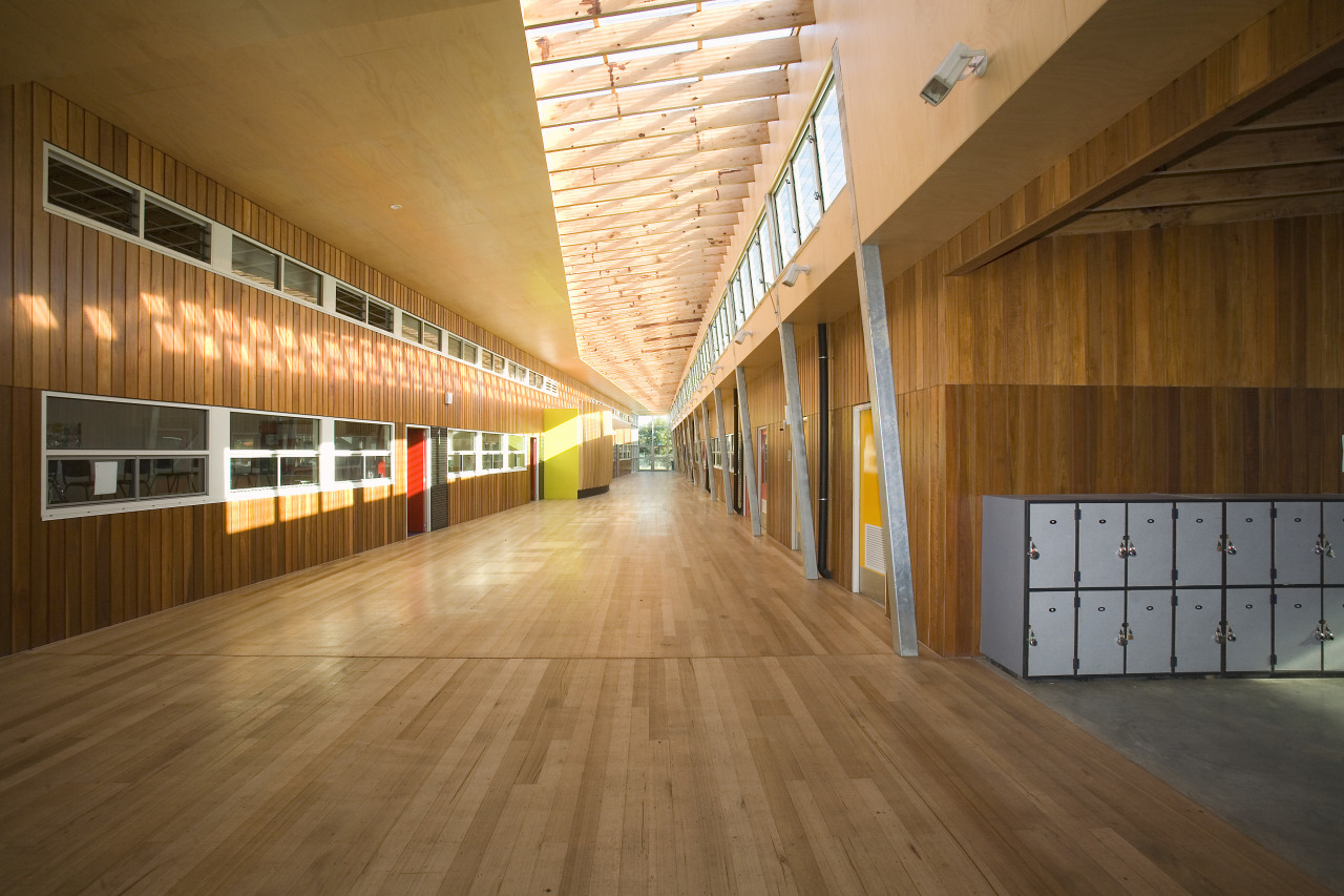 View of Williamstown High School in Melbourne. Designed architecture, ceiling, daylighting, floor, flooring, hardwood, interior design, laminate flooring, lobby, structure, wood, wood flooring, brown