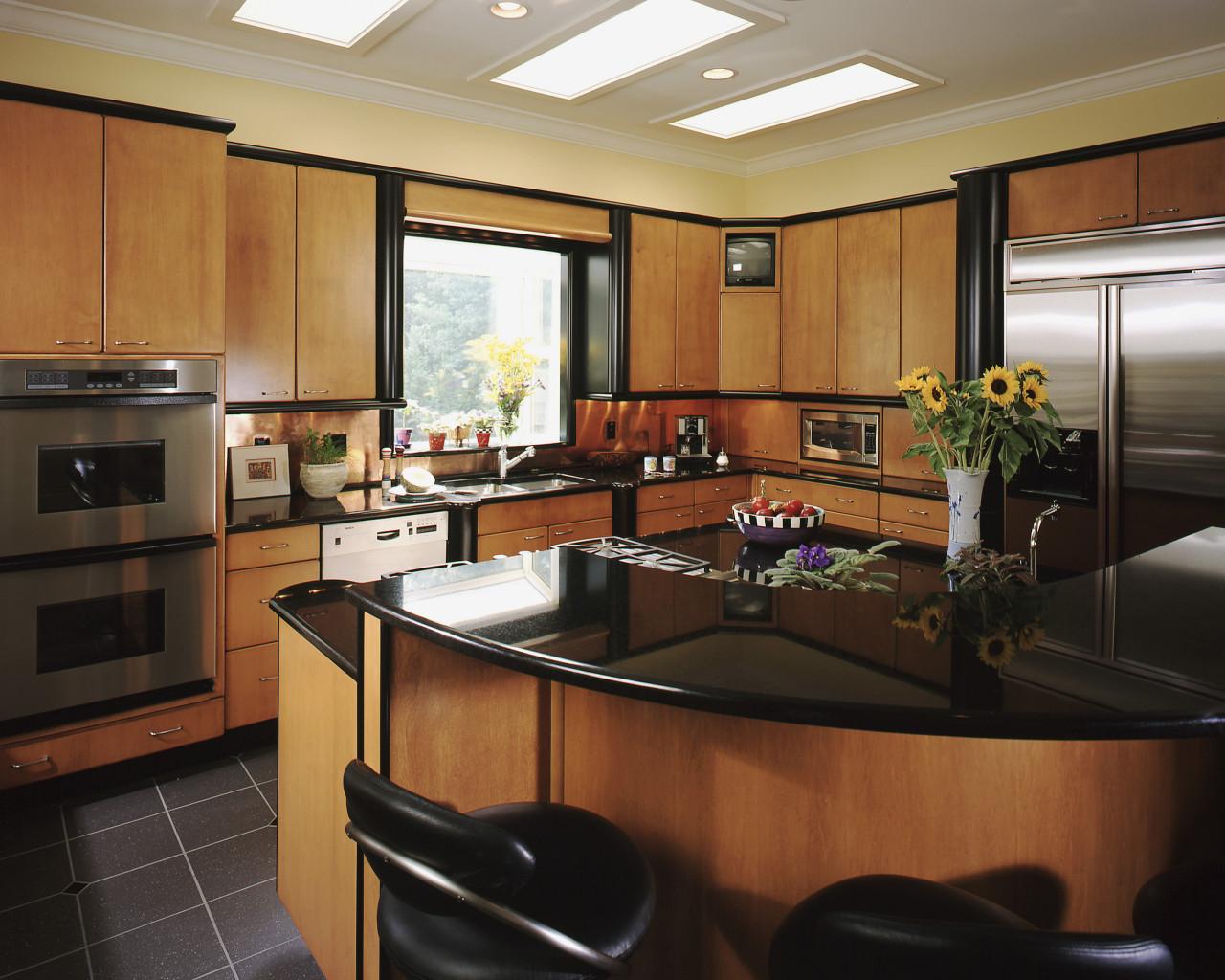 Brown timber kitchen - laminate cabinetry, countertop, interior design, kitchen, real estate, room, black, brown
