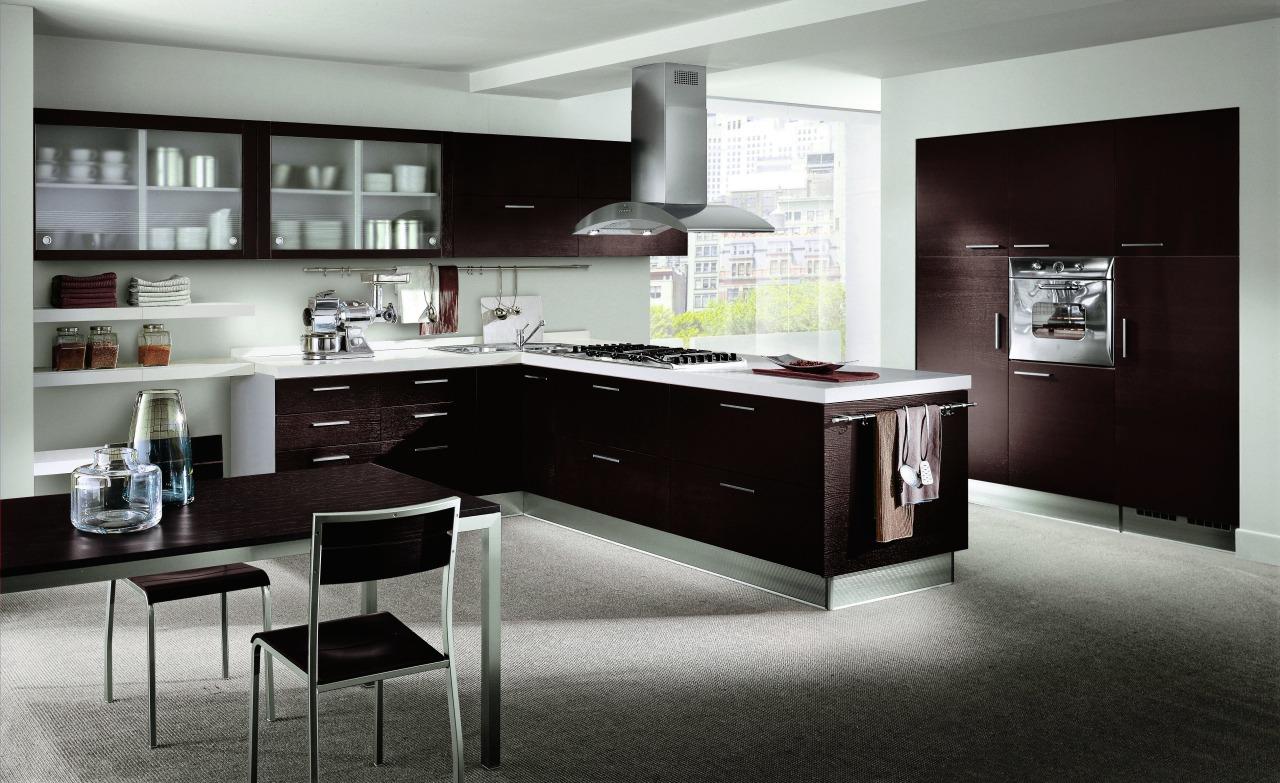 Contemporary timber kitchen european desing cabinetry, countertop, cuisine classique, furniture, interior design, kitchen, room, gray, black