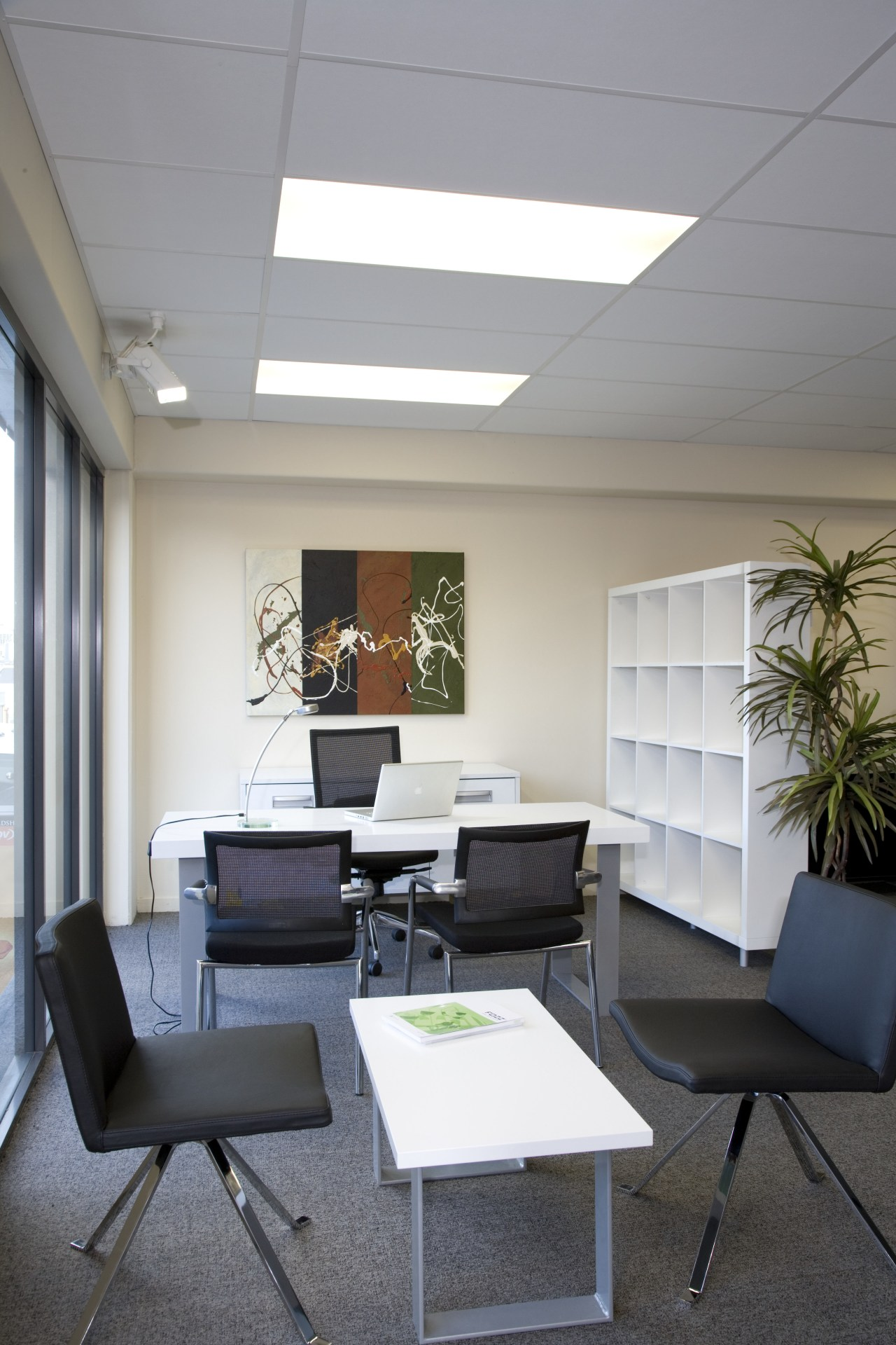 Grey Office chaairs with white laminate tale and ceiling, daylighting, furniture, interior design, office, real estate, table, gray, white