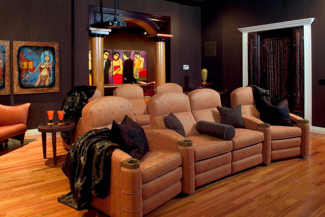 Theater room lazy boy chairs floor, flooring, furniture, hardwood, home, interior design, living room, room, wood, black, brown