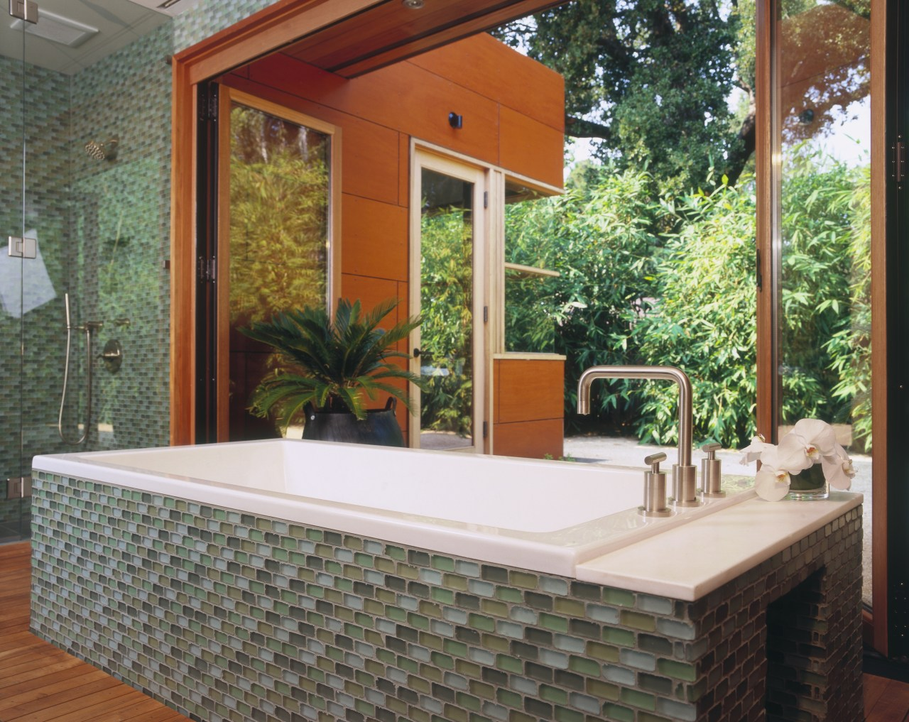 Image of a bathroom with colours that mimic backyard, estate, home, house, interior design, outdoor structure, porch, property, real estate, window