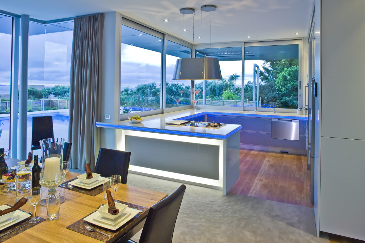 View of a kitchen with Fisher & Paykel's interior design, real estate, window, gray, teal