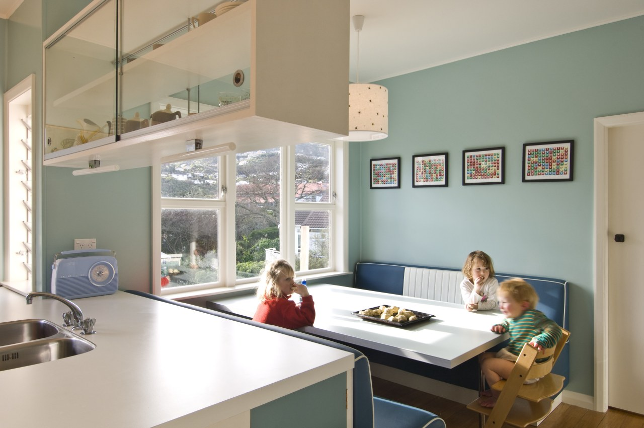 View of a kitchen which features blue cabinetry interior design, room, window, gray