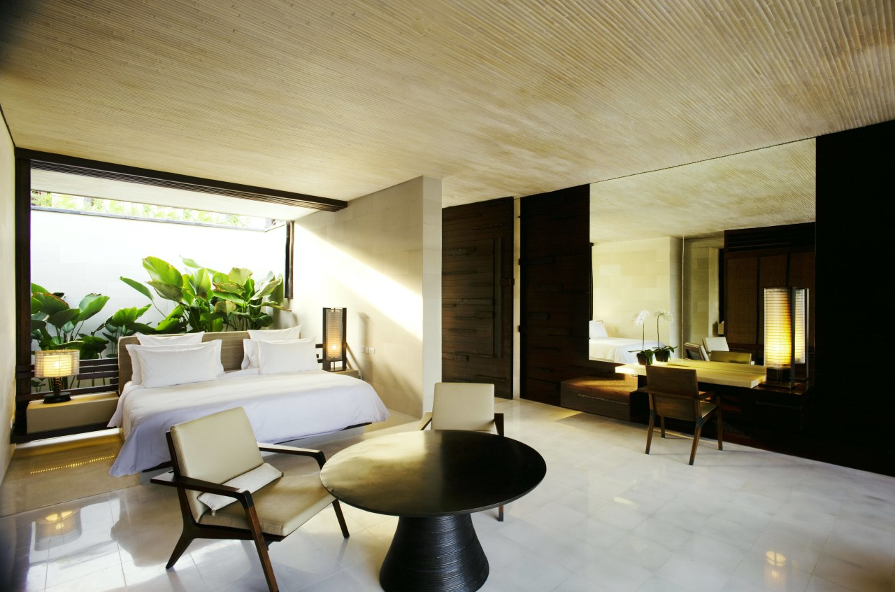 This bedroom in a luxury eco-friendly Balinese villa architecture, ceiling, house, interior design, living room, real estate, room, suite, white