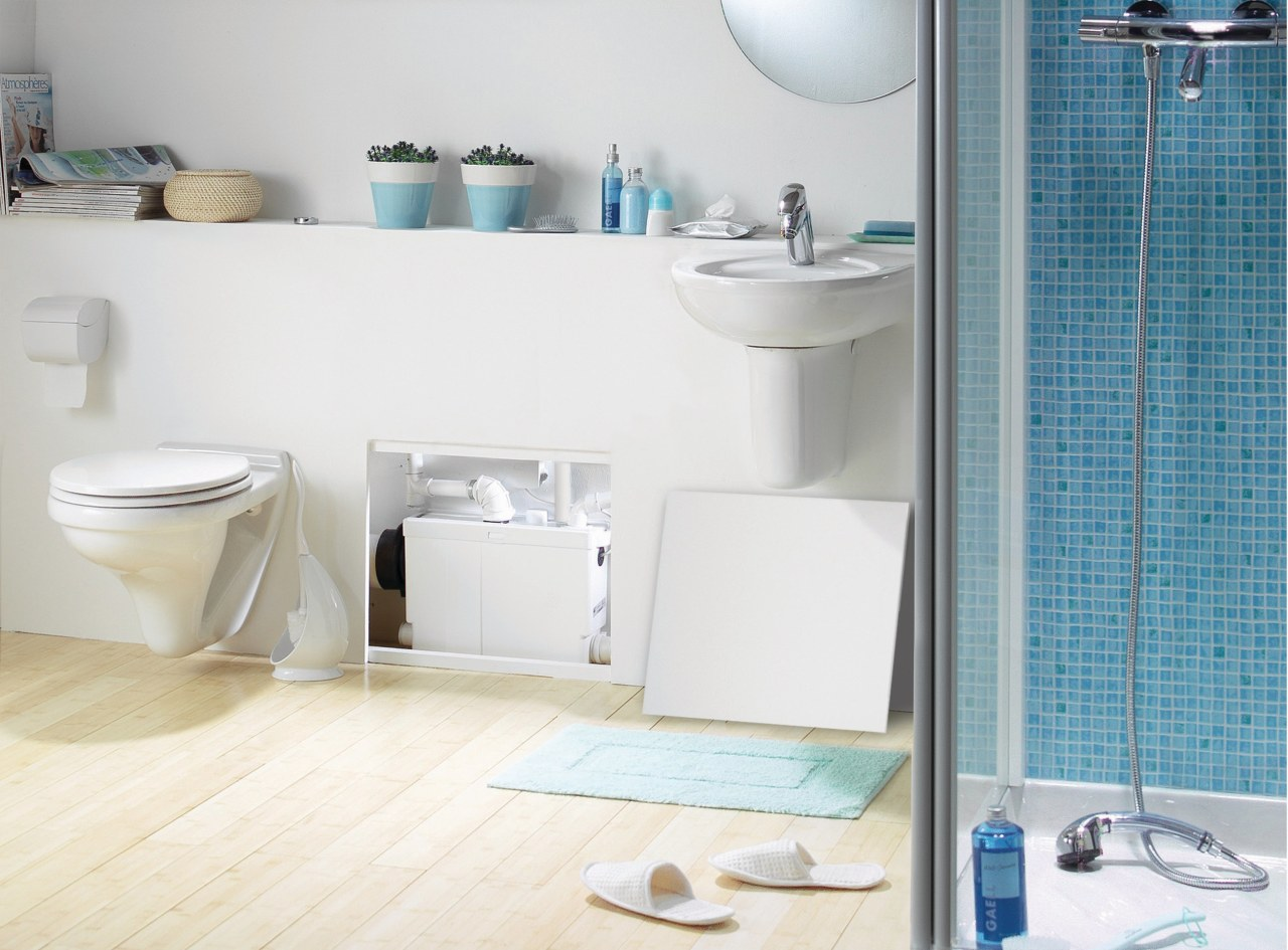 View of a newly renovated bathroom which features bathroom, bathroom accessory, bathroom cabinet, bathroom sink, ceramic, floor, interior design, plumbing fixture, product, product design, room, shelf, sink, tap, tile, toilet seat, wall, white