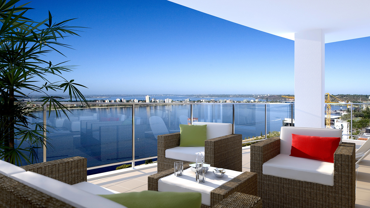 View of the Fairlanes Perth apartment balcony. apartment, balcony, condominium, estate, home, hotel, leisure, palm tree, penthouse apartment, property, real estate, resort, sea, sky, swimming pool, vacation, villa, teal