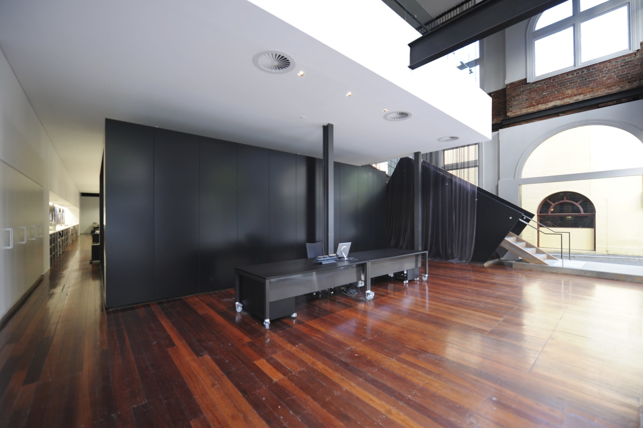 Architectural firm Coz Howlett & Bailey Woodland relocated architecture, ceiling, daylighting, floor, flooring, hardwood, house, interior design, laminate flooring, loft, real estate, wood, wood flooring, gray