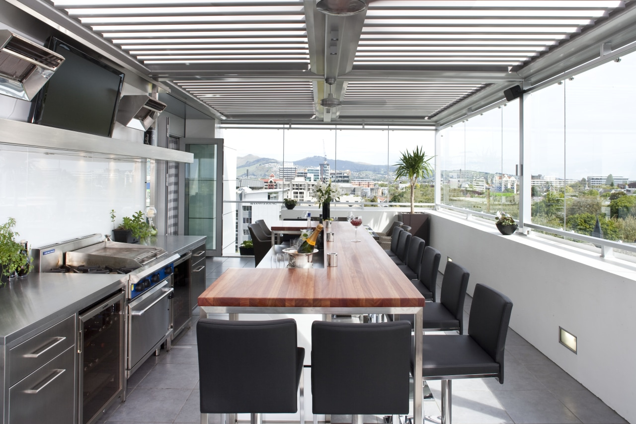 The commercial look of the kitchen is reinforced countertop, house, interior design, kitchen, patio, real estate, roof, white, gray