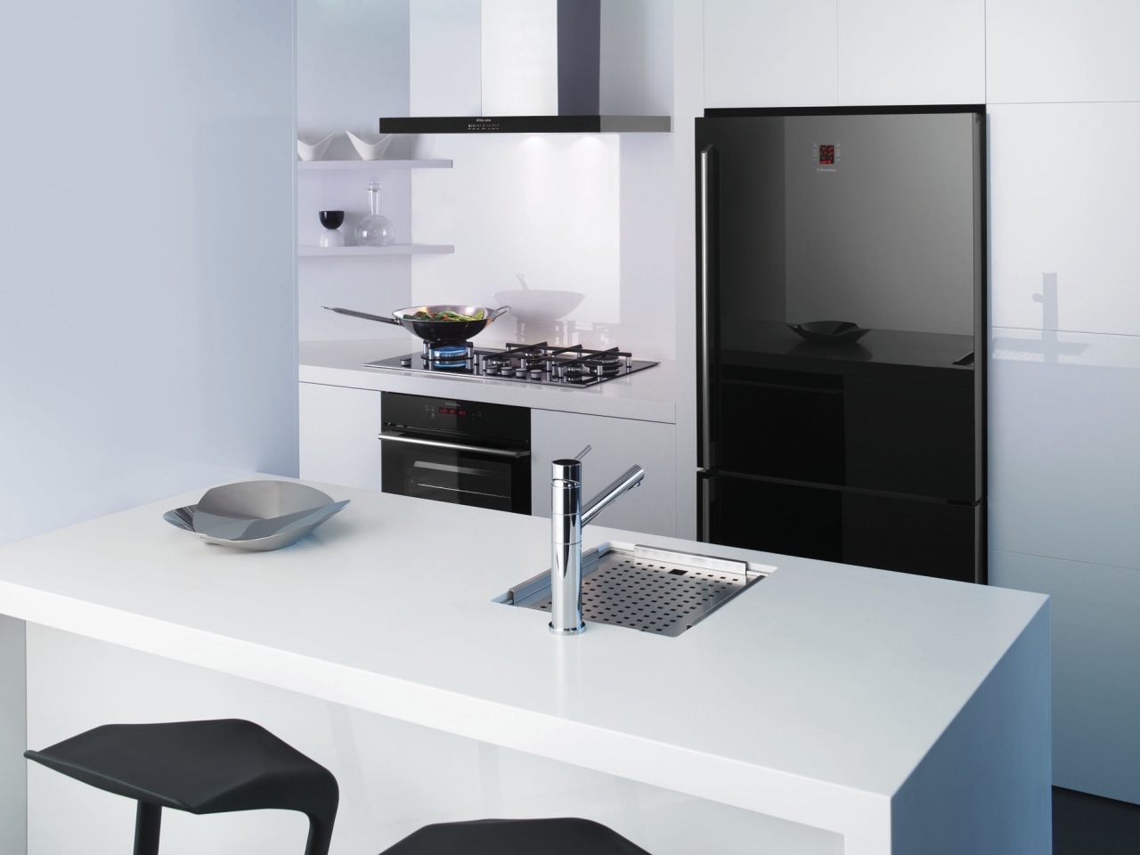 This chic kitchen features a bottom-mount refrigerator, oven, furniture, kitchen, office, product, product design, table, white