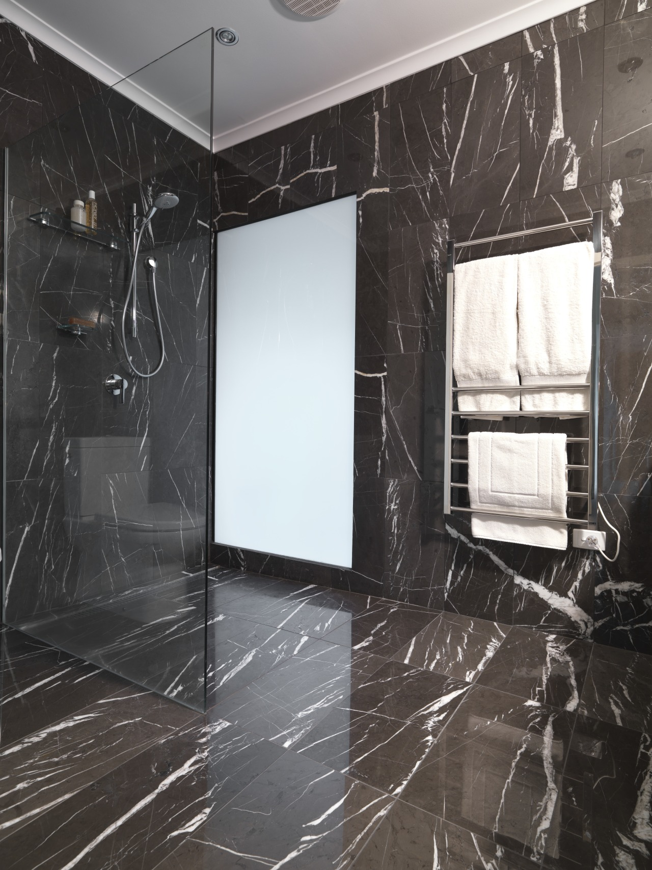 View of bathroom which features chocolate-coloured marble floor architecture, black and white, ceiling, floor, flooring, glass, interior design, room, tile, wall, window, black, gray