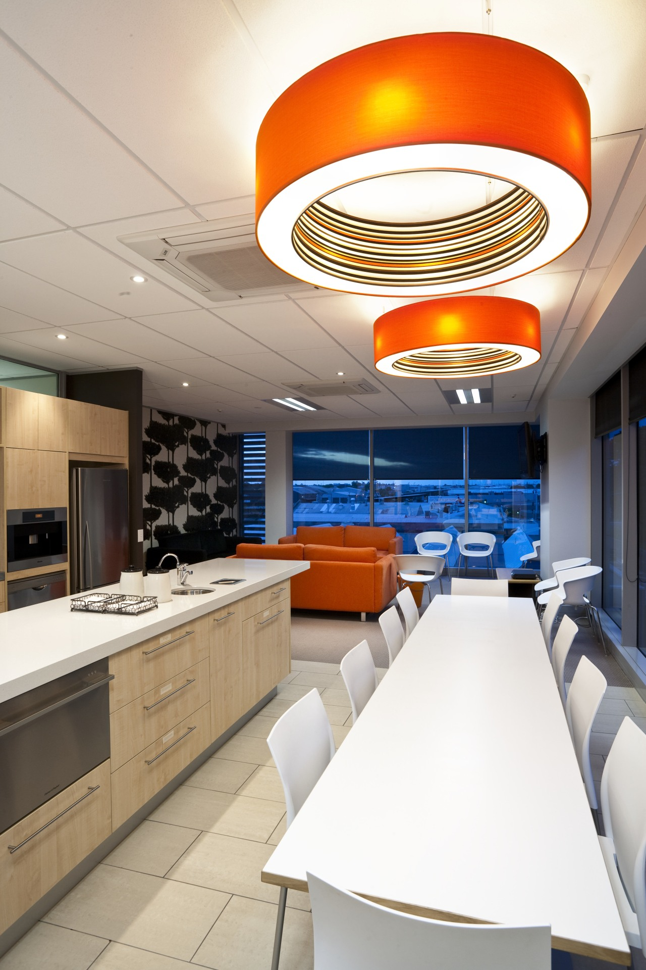 View from dining room overlooking kitchen & living ceiling, interior design, kitchen, product design, white