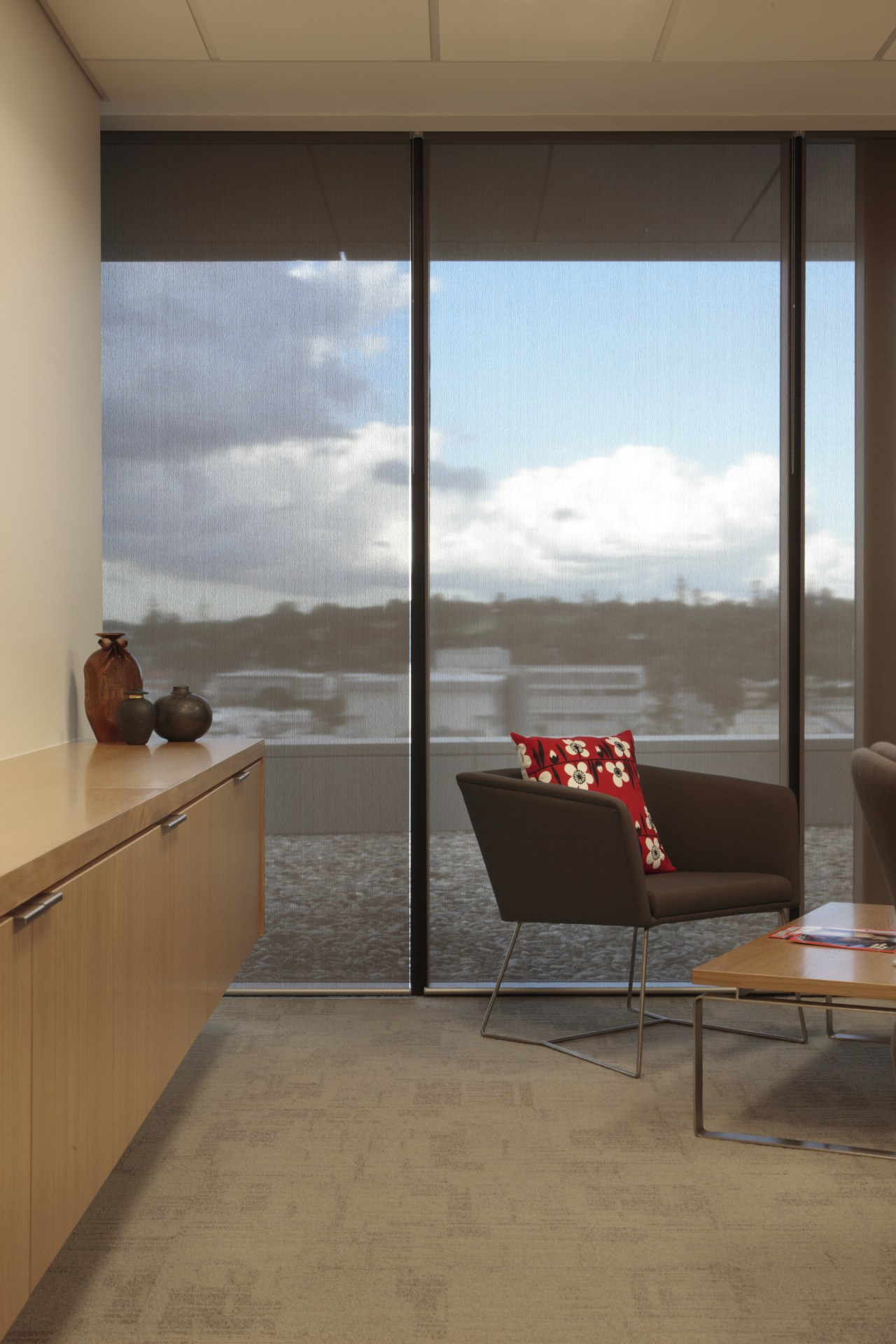 View of the office blinds by KWA Blinds architecture, daylighting, door, floor, flooring, furniture, glass, house, interior design, window, brown