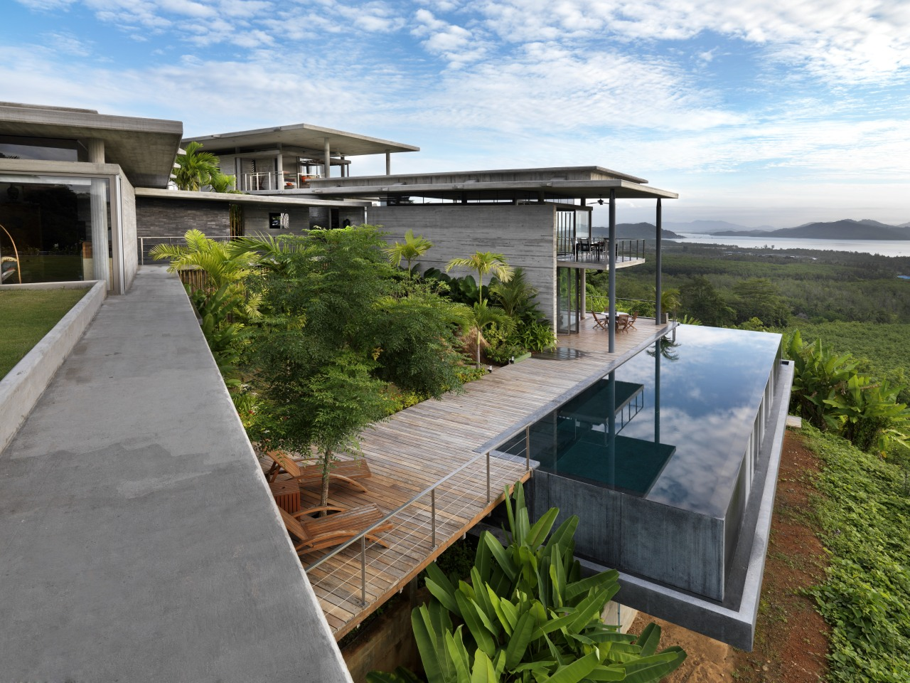 View of modern home designed by Design Unit architecture, estate, home, house, property, real estate, water, gray