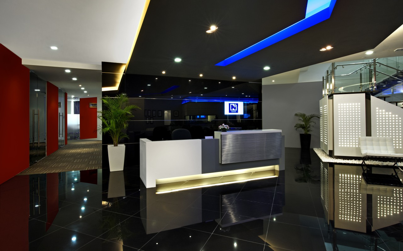 View of the security specialists Nexbis offices, reception ceiling, interior design, lighting, lobby, black