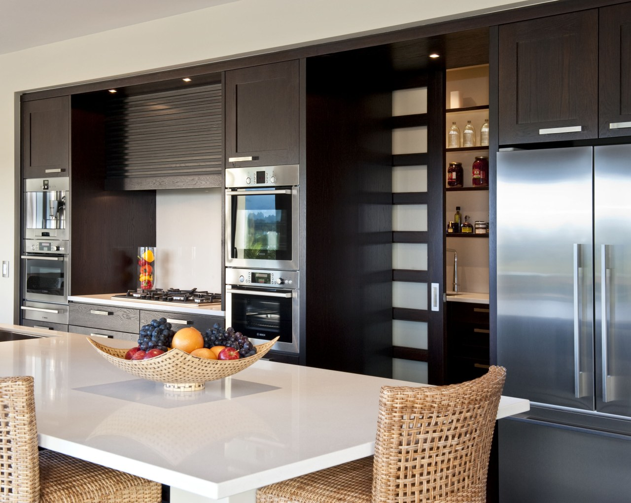 Interior view of this modern home cabinetry, countertop, cuisine classique, home appliance, interior design, kitchen, black, white