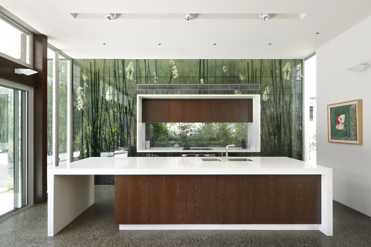 View of a contemporary kitchen which features island, architecture, furniture, interior design, real estate, white