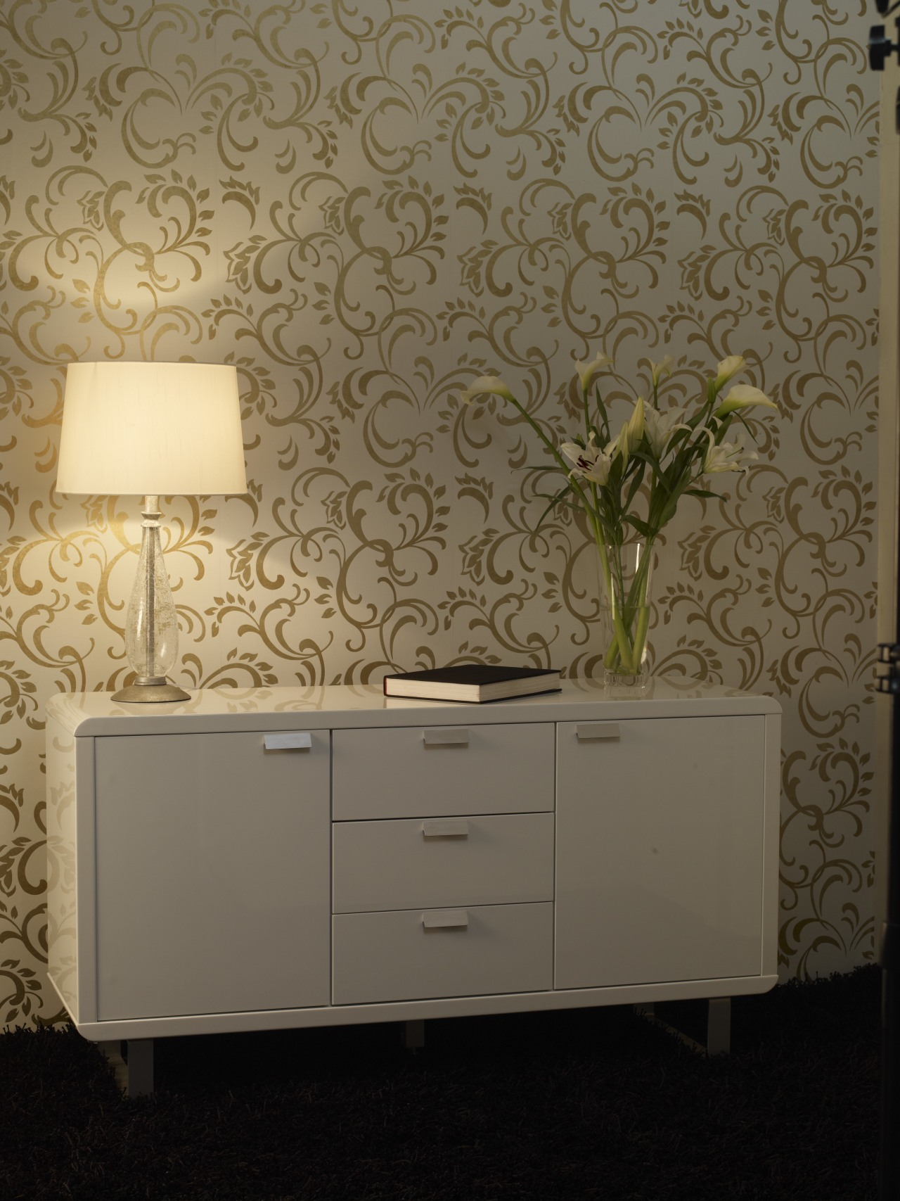 View of the wallcoverings by Pacific Wallcoverings ceiling, chest of drawers, drawer, floor, furniture, interior design, wall, wallpaper, brown