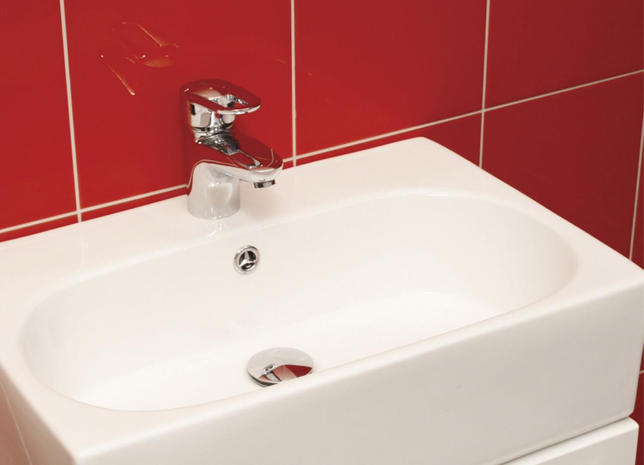 View of this contemporary bathroom bathroom, bathroom sink, bidet, ceramic, plumbing fixture, product, product design, sink, tap, toilet seat, white, red