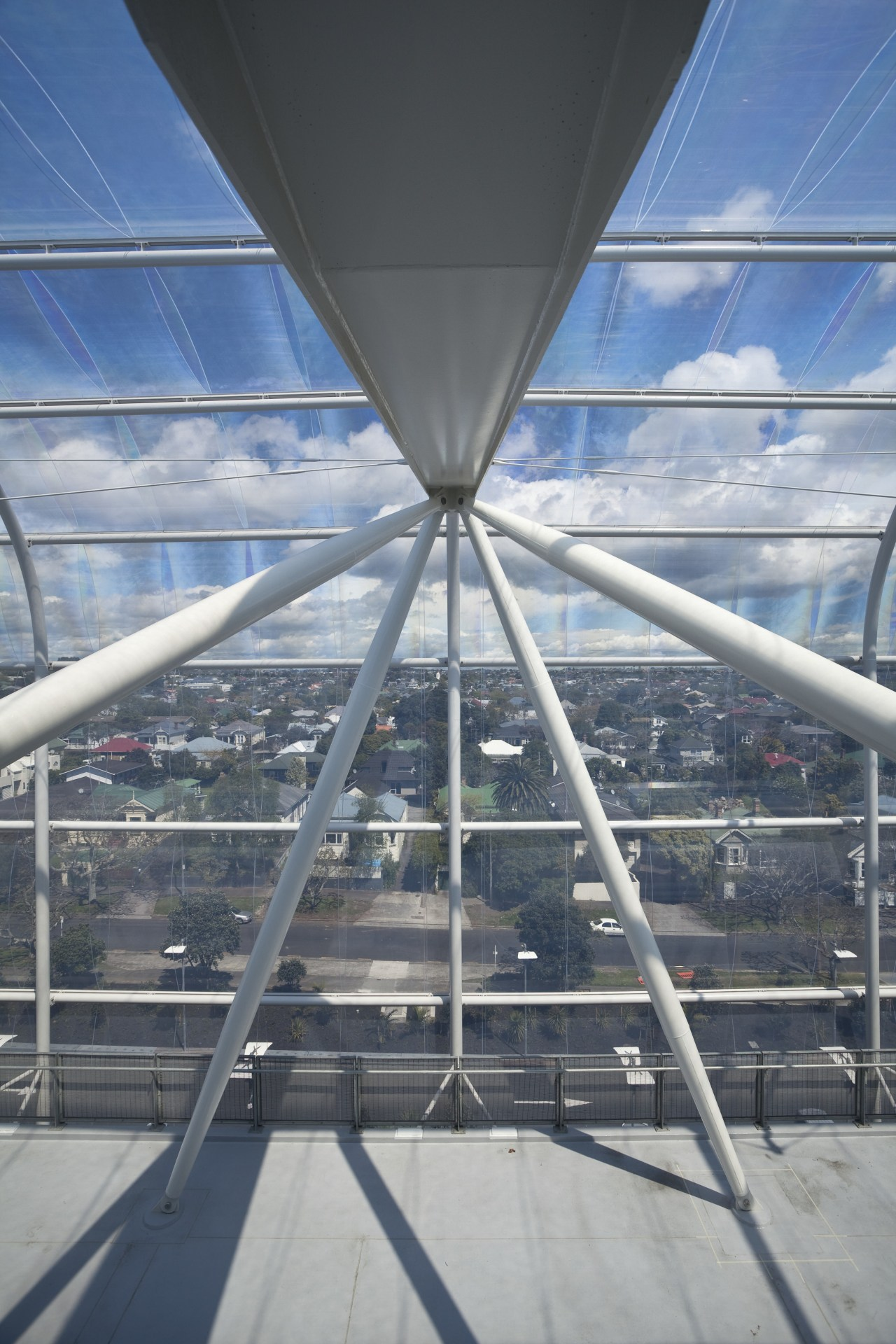 View of the cantilevered roof of the South architecture, building, cable stayed bridge, daylighting, fixed link, line, roof, sky, structure, gray
